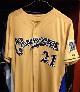 """official photos 3d502 76747 Game-Worn """"Cerveceros Jerseys to be Auctioned Off at brewers.com"""