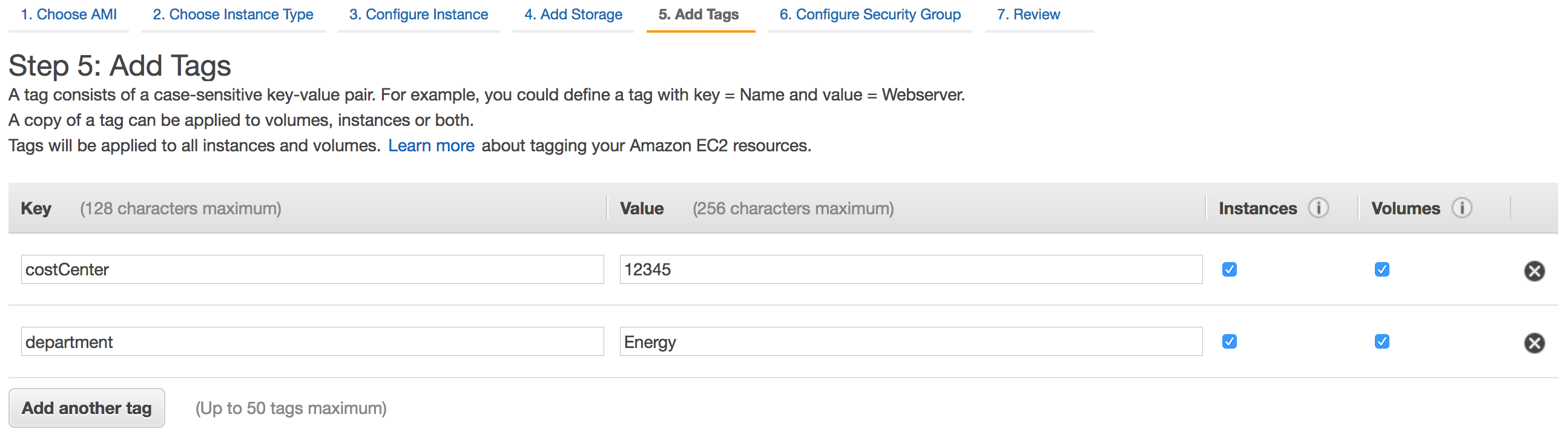 Add costCenter and department tags to the EC2 instance configuration.