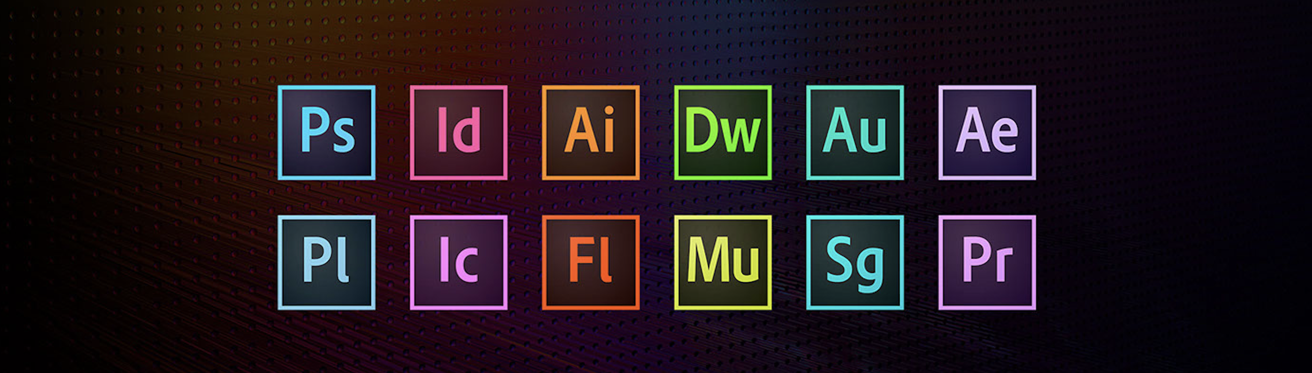 Colorful icons representing programs in the Adobe Creative Cloud suite.