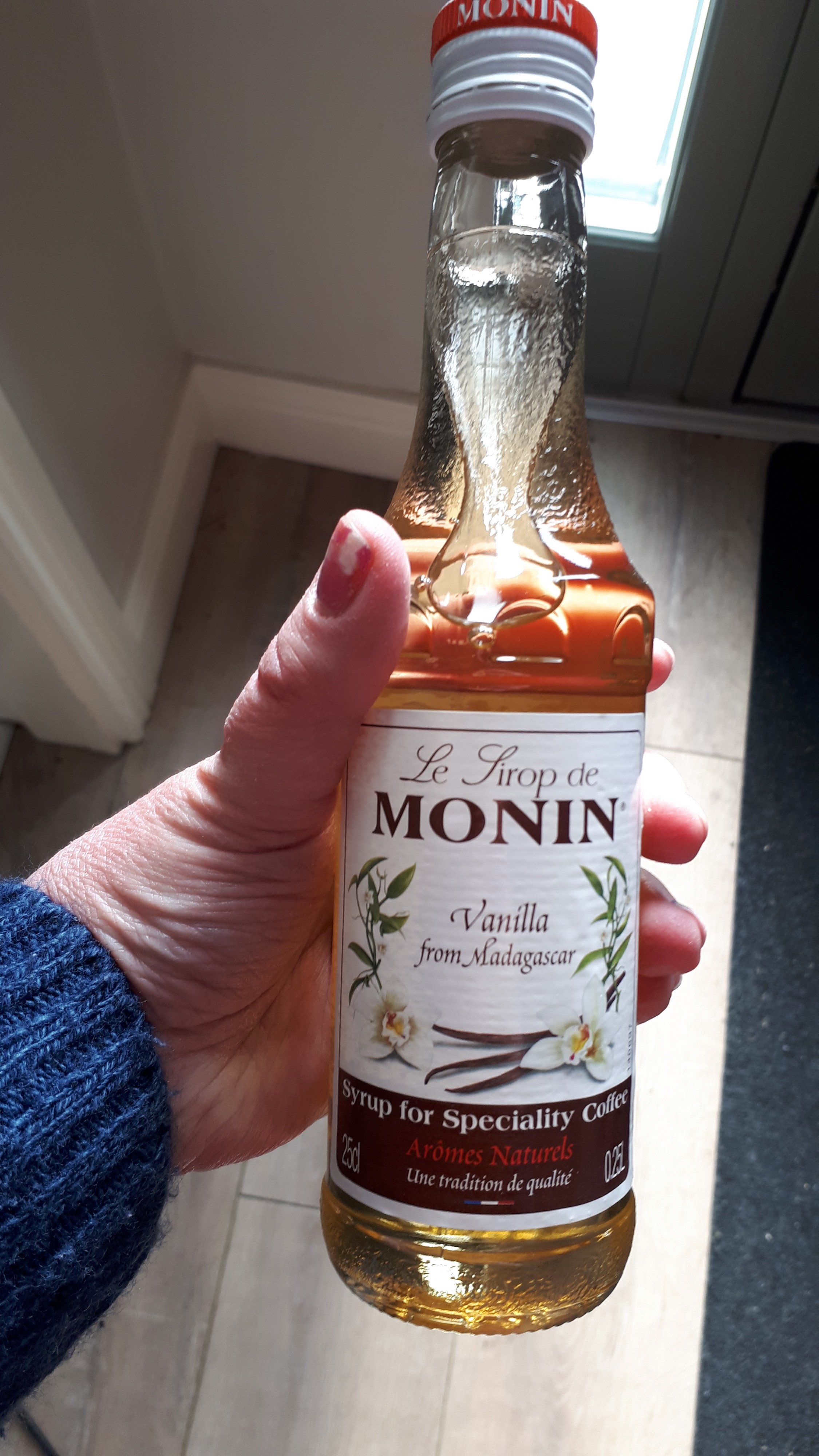 A bottle of vanilla coffee syrup