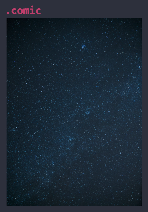 The comic's container. A4 shaped page with space themed background