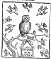 woodcut of a cute owl surrounded by other birds