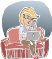 Cartoon of woman on couch working on laptop