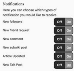 Notifications dialog, with Off buttons in black and on buttons in grey