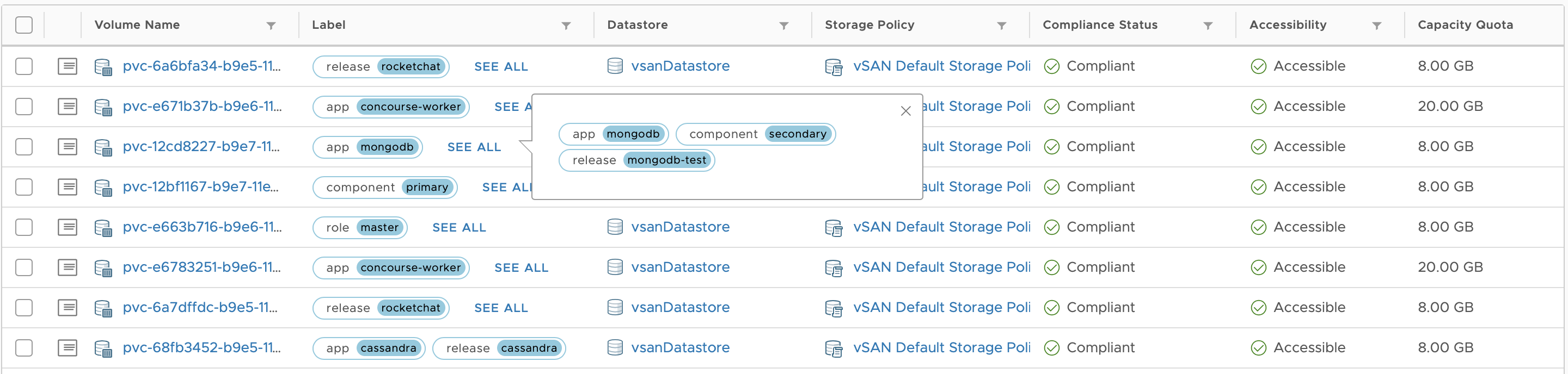 A screenshot of container volumes and demonstrating that more labels are shown via a signpost that you can click on