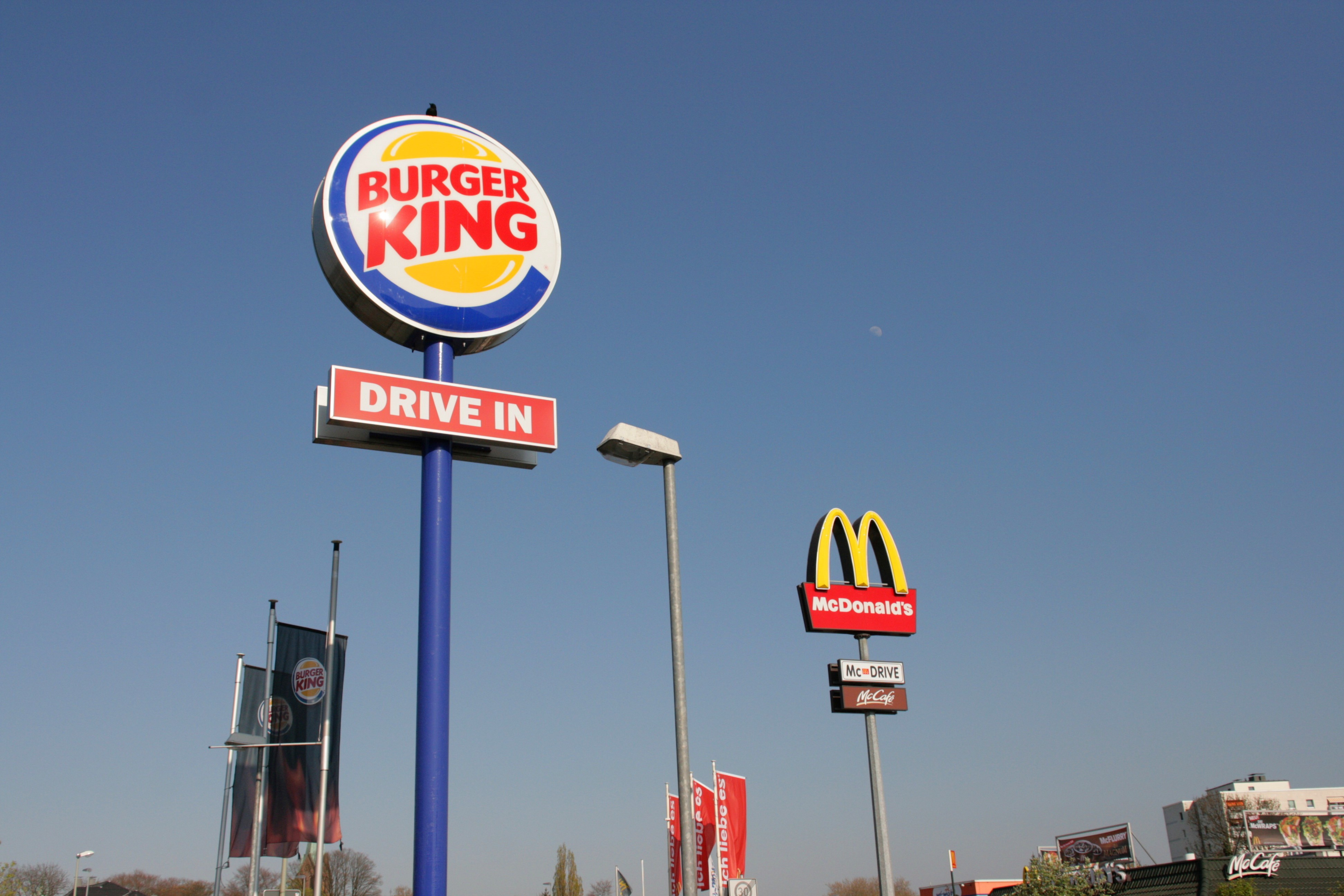 Signs for Burger King and McDonald's
