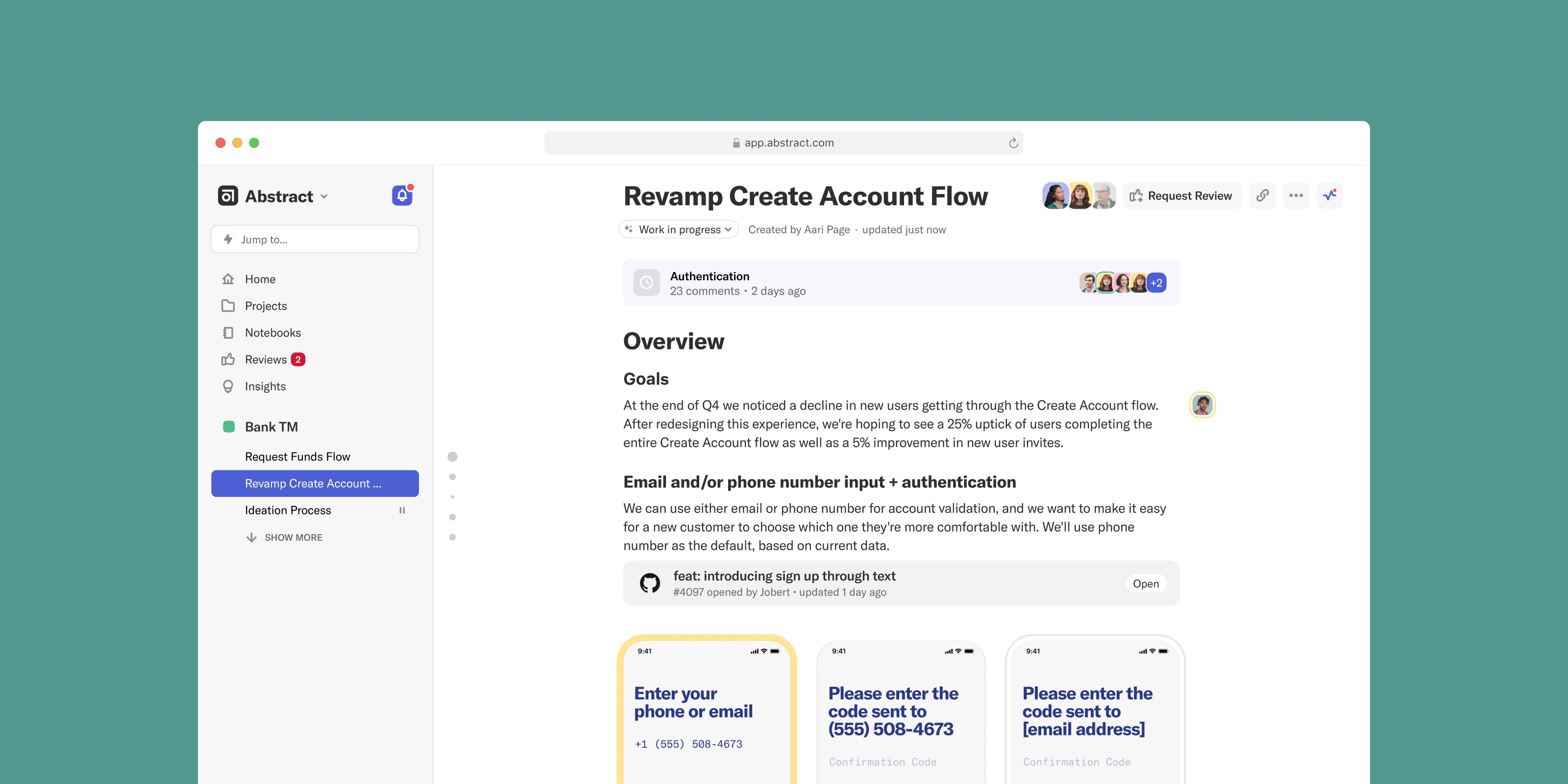 Screenshot of an Abstract Notebook containing design documentation for a banking app.