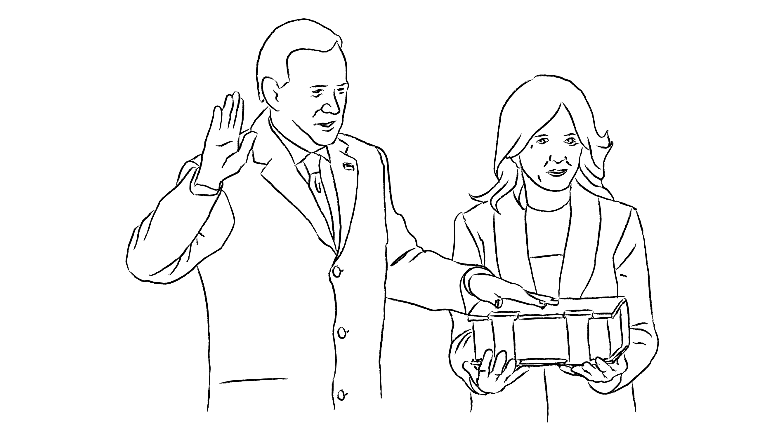 An illustration of President Joseph R. Biden taking his oath on Inauguration day.