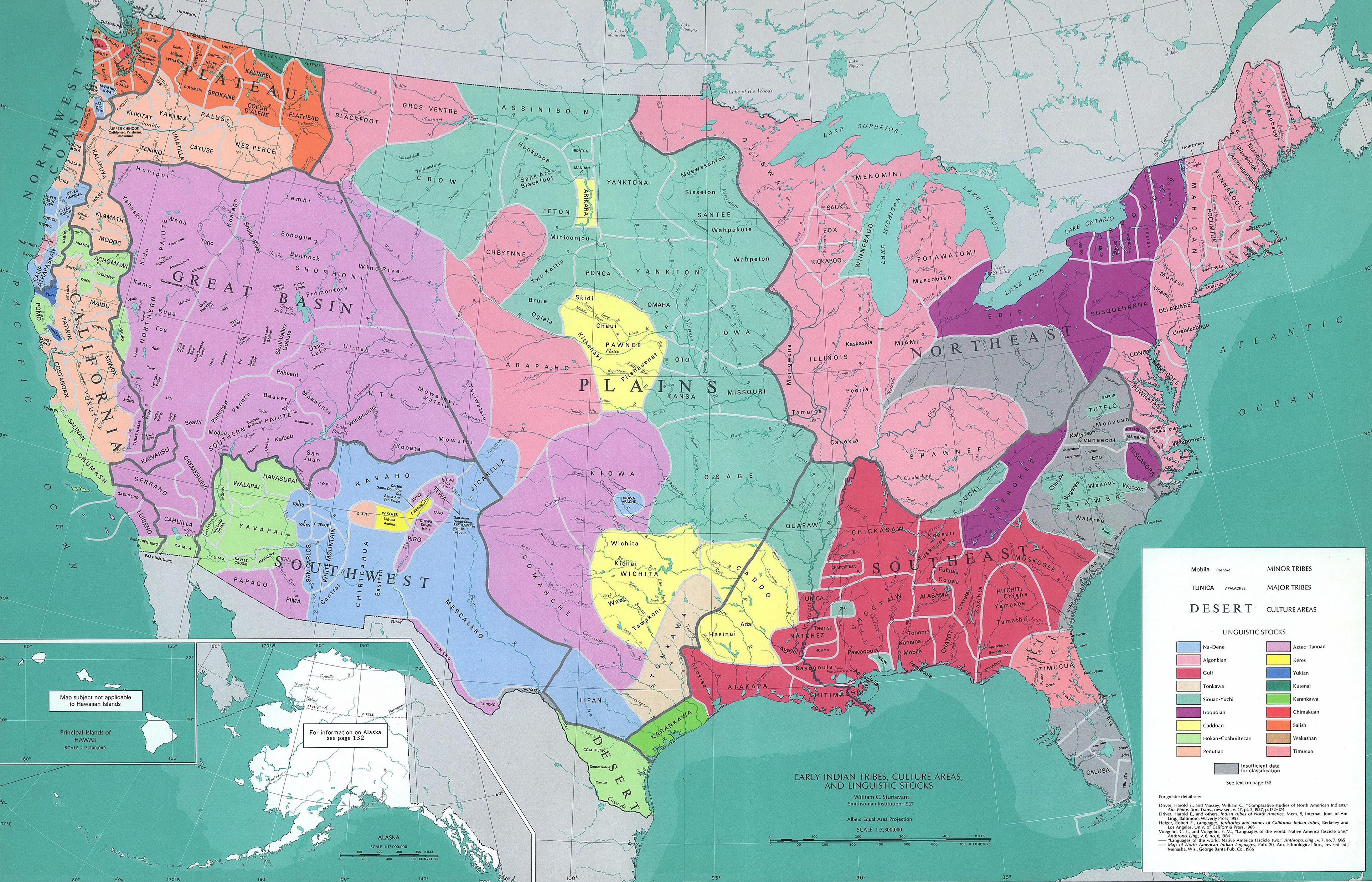 US map with Native American tribal regions overlaid.