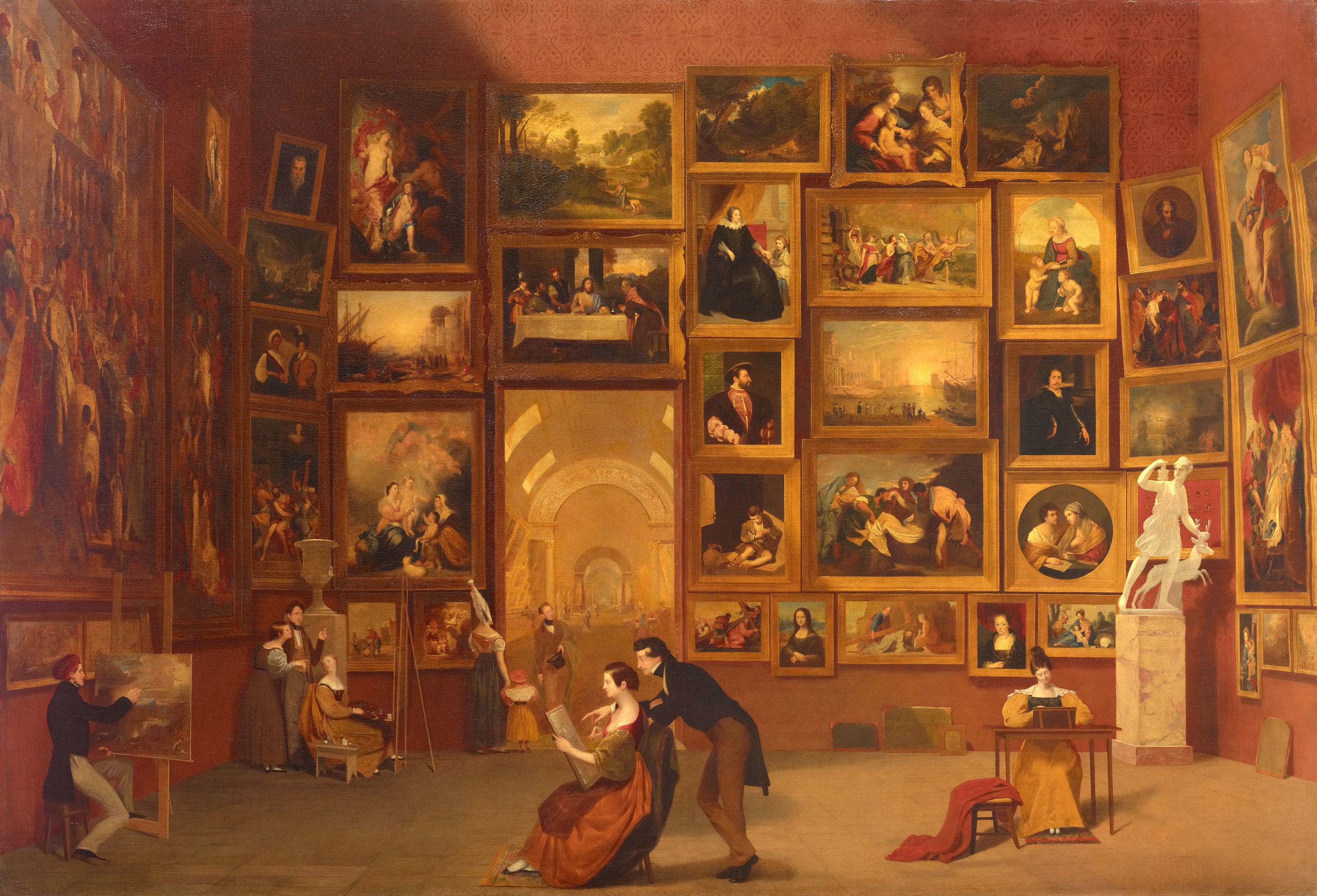 Painting by Samuel F. B. Morse of the Louvre Salon in the 1800s.
