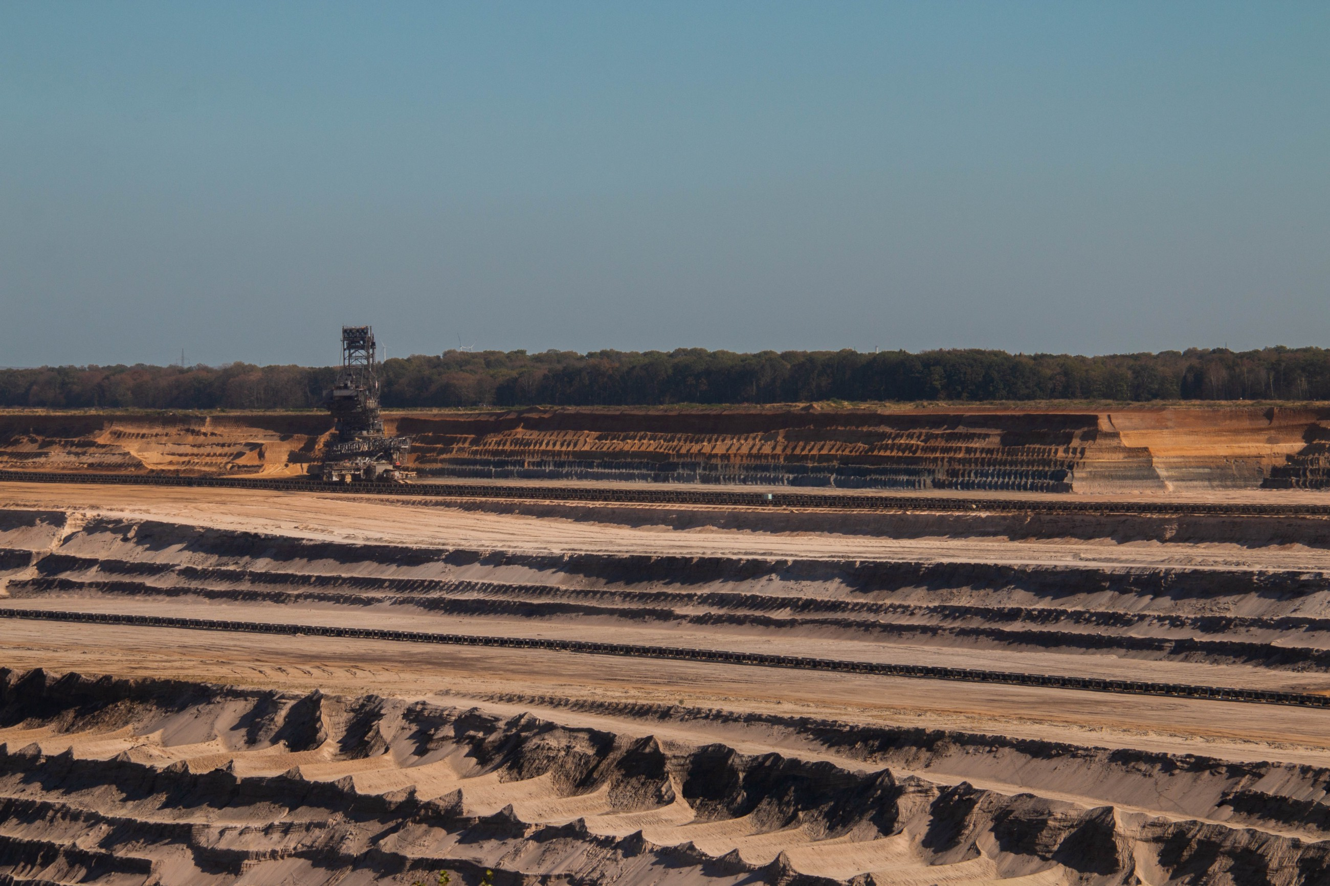 A view of the Hambach Forest from across the Hambach coal mine, with machinery at work.