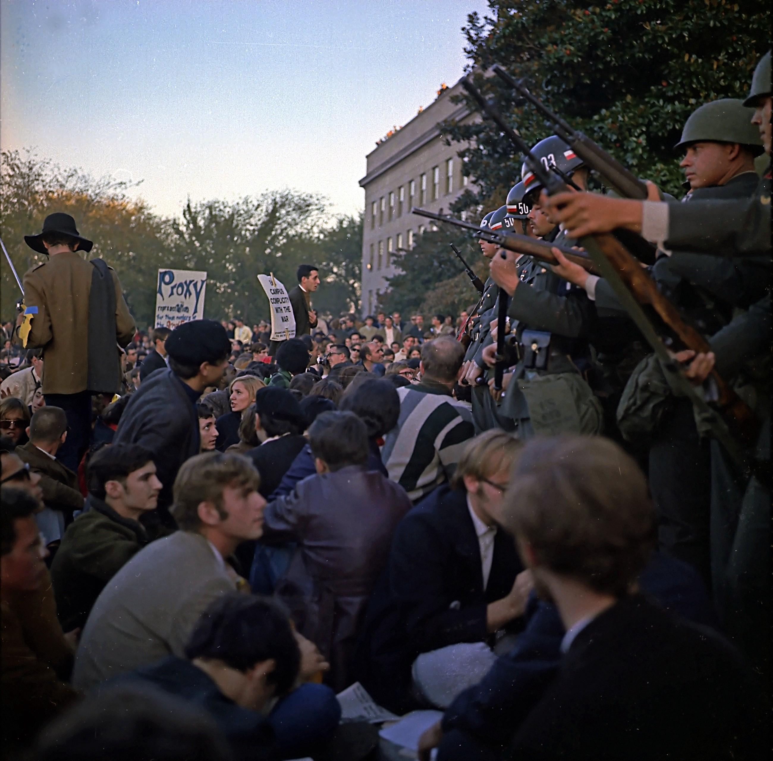Protestors confront the US Army at the March on the Pentagon, 1967.