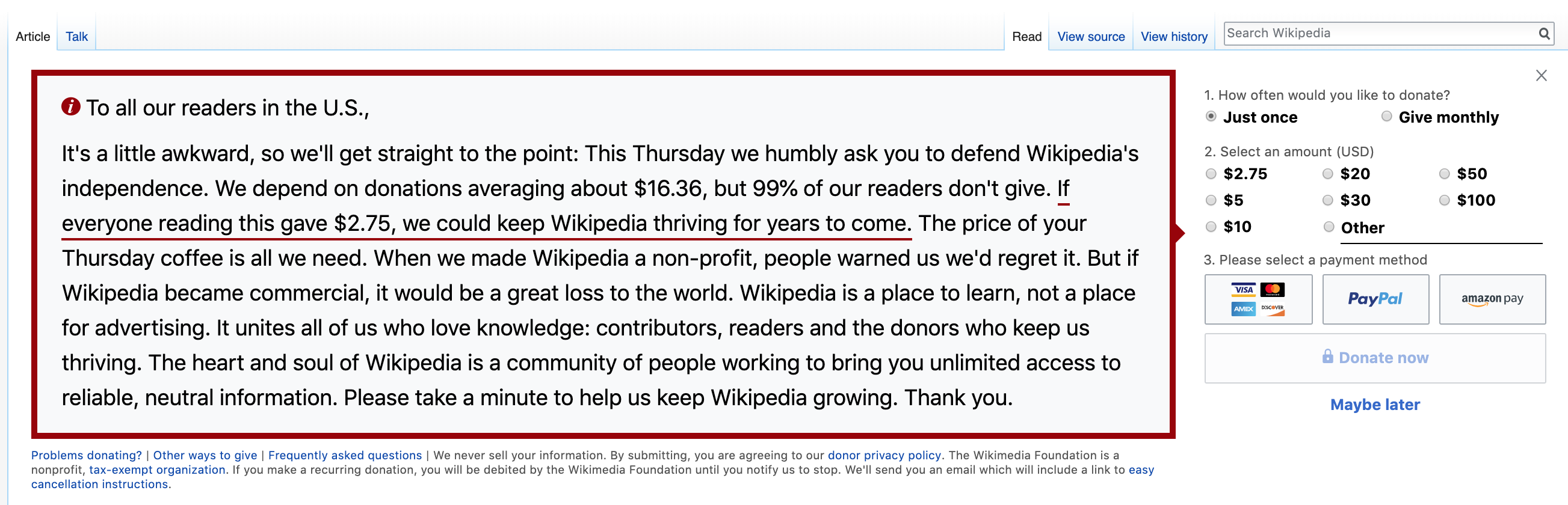 A picture of a recent Wikipedia appeal for money.