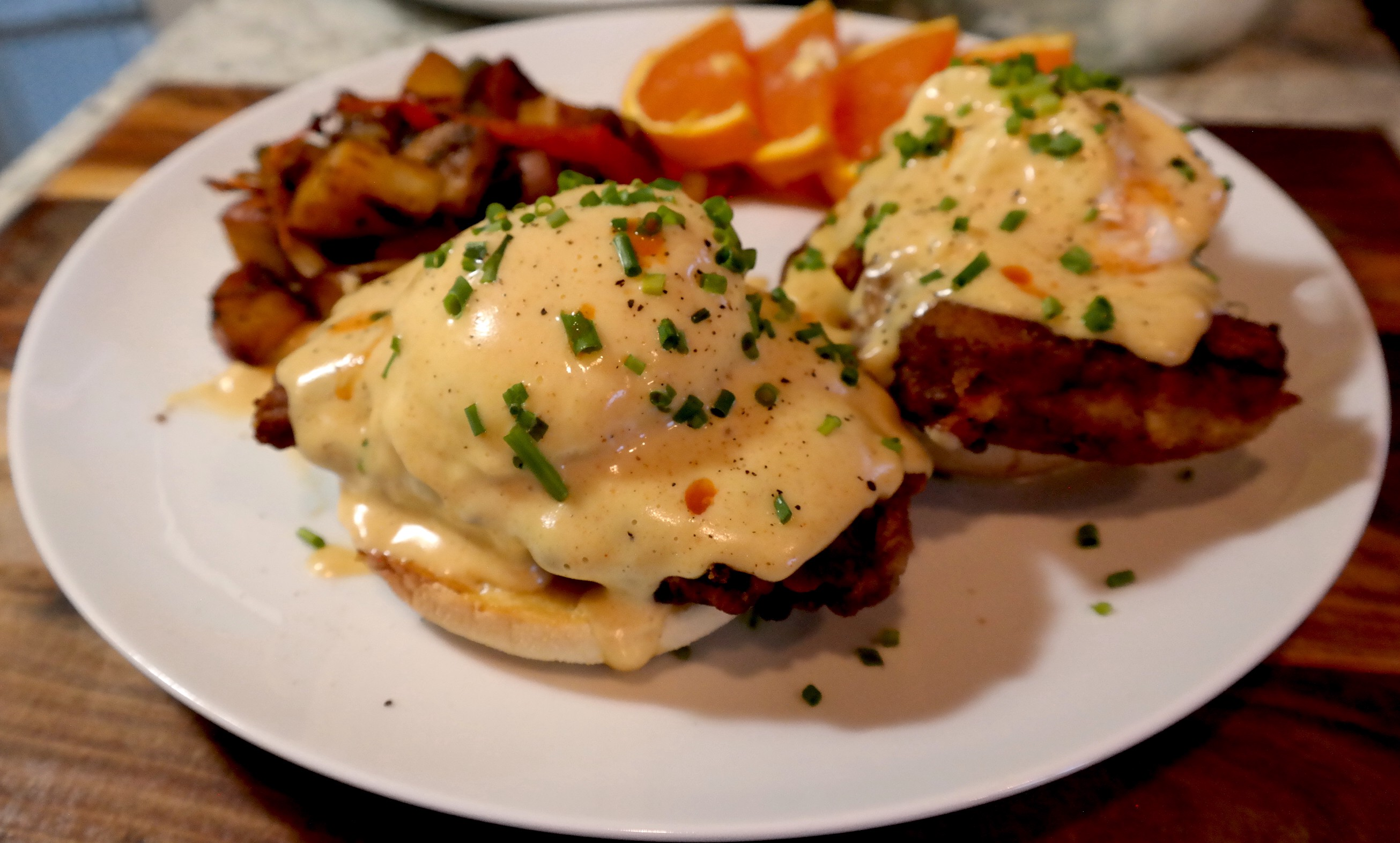 Pollo Loco Fried Steak Eggs Benedict Recipe By Anne Reciperemix Medium