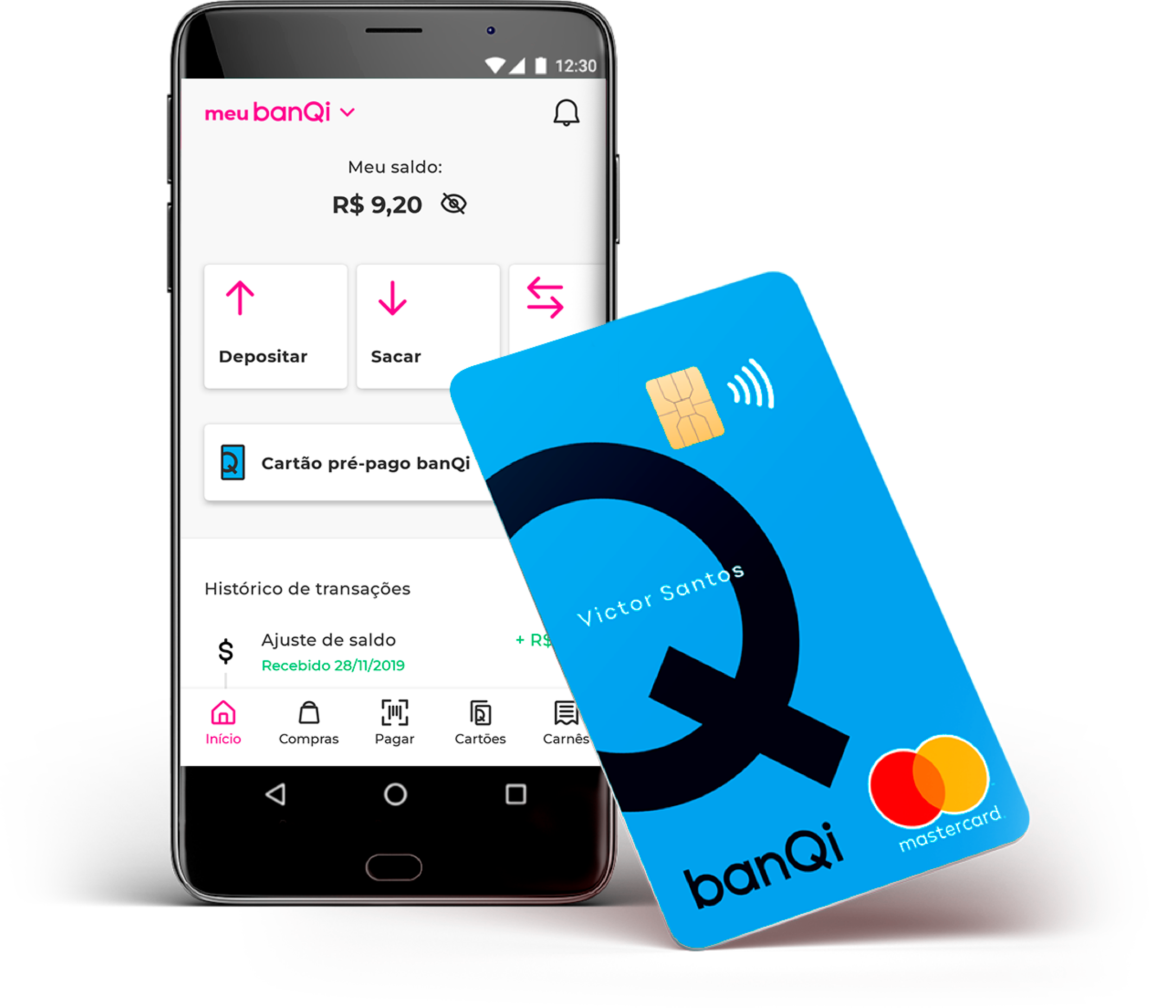 A banQi pre-paid card is next to a cellphone showing the banQi app and its options to withdraw, deposit, and transfer money