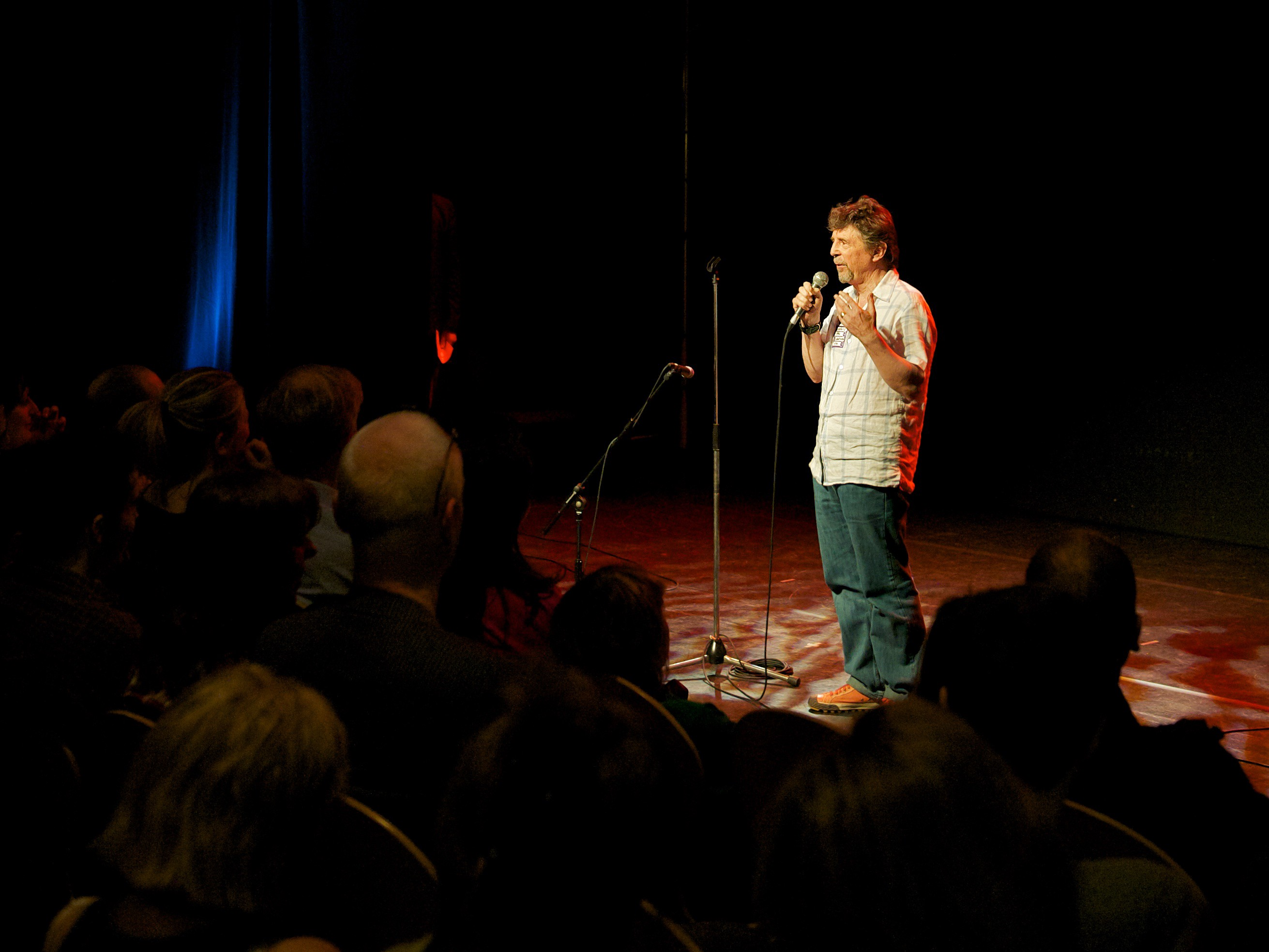 Author Gerry Maguire Thompson performing stand-up comedy about stuff that annoys him