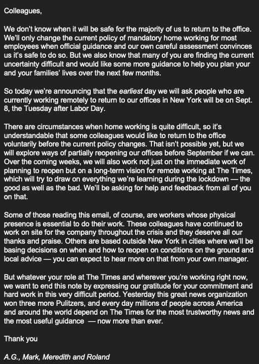 New York Time memo to staff about mandating work from home through September 8.