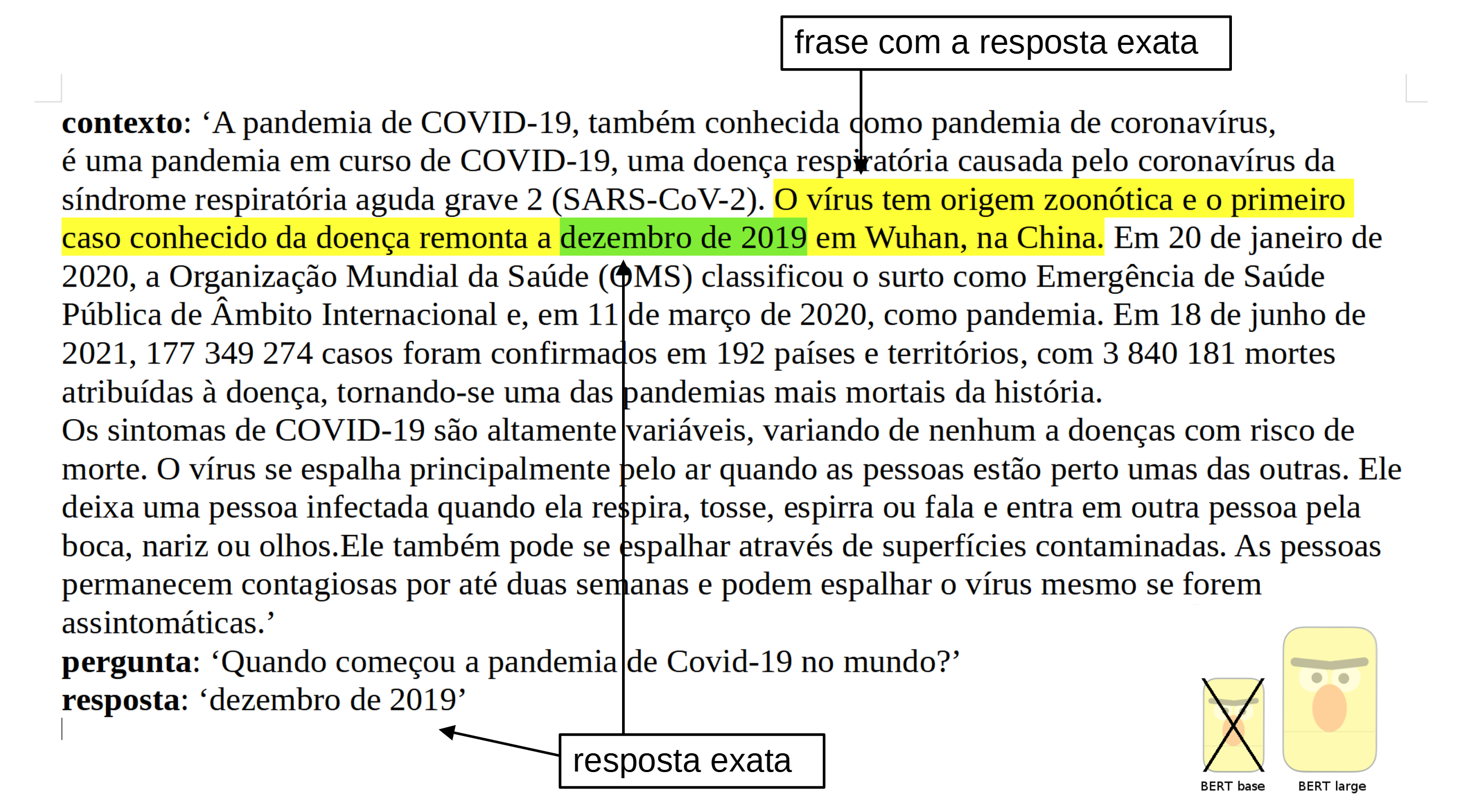 Exemple of what can do the Portuguese BERT large cased QA (Question Answering), finetuned on SQUAD v1.1