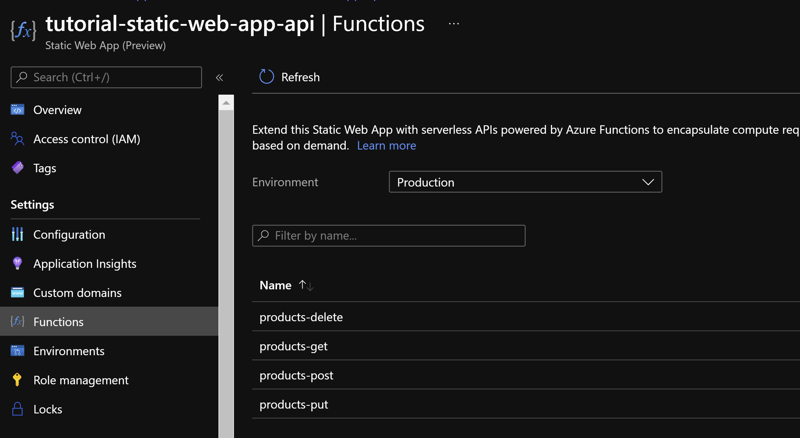 Screenshot of Functions tab selected in the Static Web App created in the Tutorial (sample name: tutorial-static-web-app-api). Displays the 4 function apps deployed in the Static Web App (products-delete, products-get, products-post, products-put).