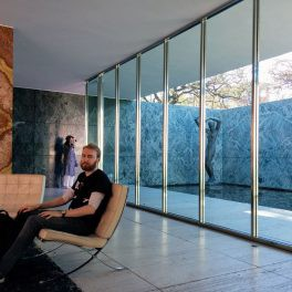 Me sitting in the Barcelona Pavilion