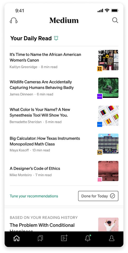 image of the Medium app store's home screen, showing previews to posts from Medium's publications OneZero, Elemental, GEN