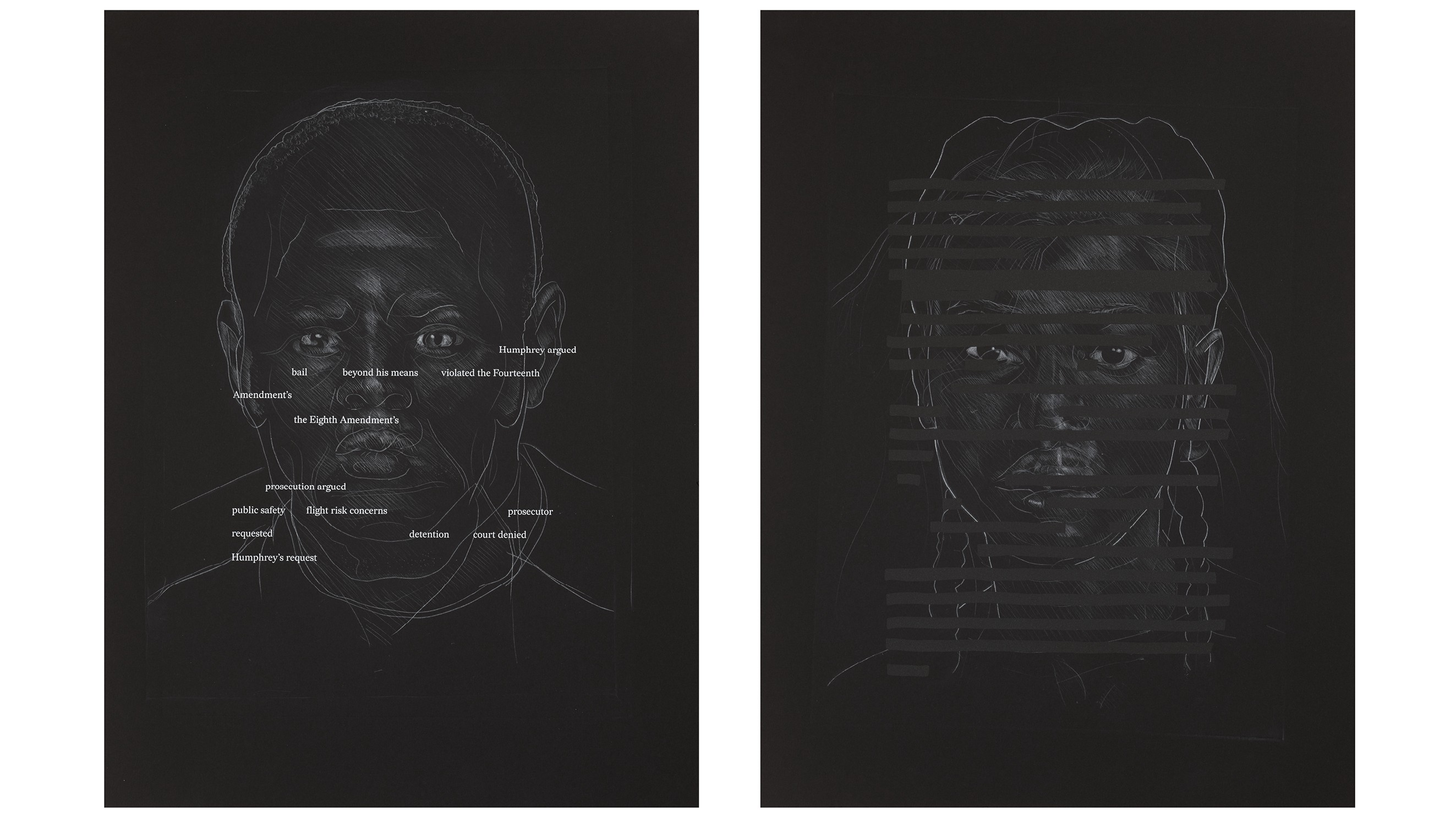 Titus Kaphar and Reginald Dwayne Betts, Redaction (San Francisco), 2020. Etching and silkscreen on paper.