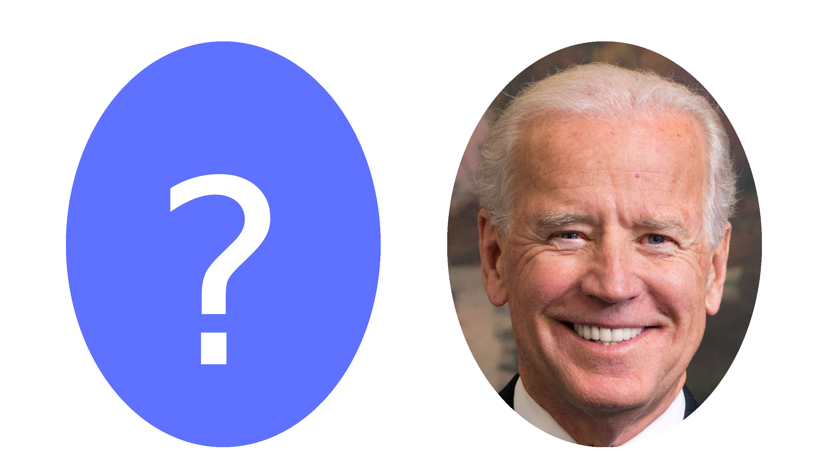 Picture of Biden next to an empty question mark.