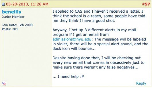 Pre-Acceptance Email Only Sent to Some Totally Freaks Out