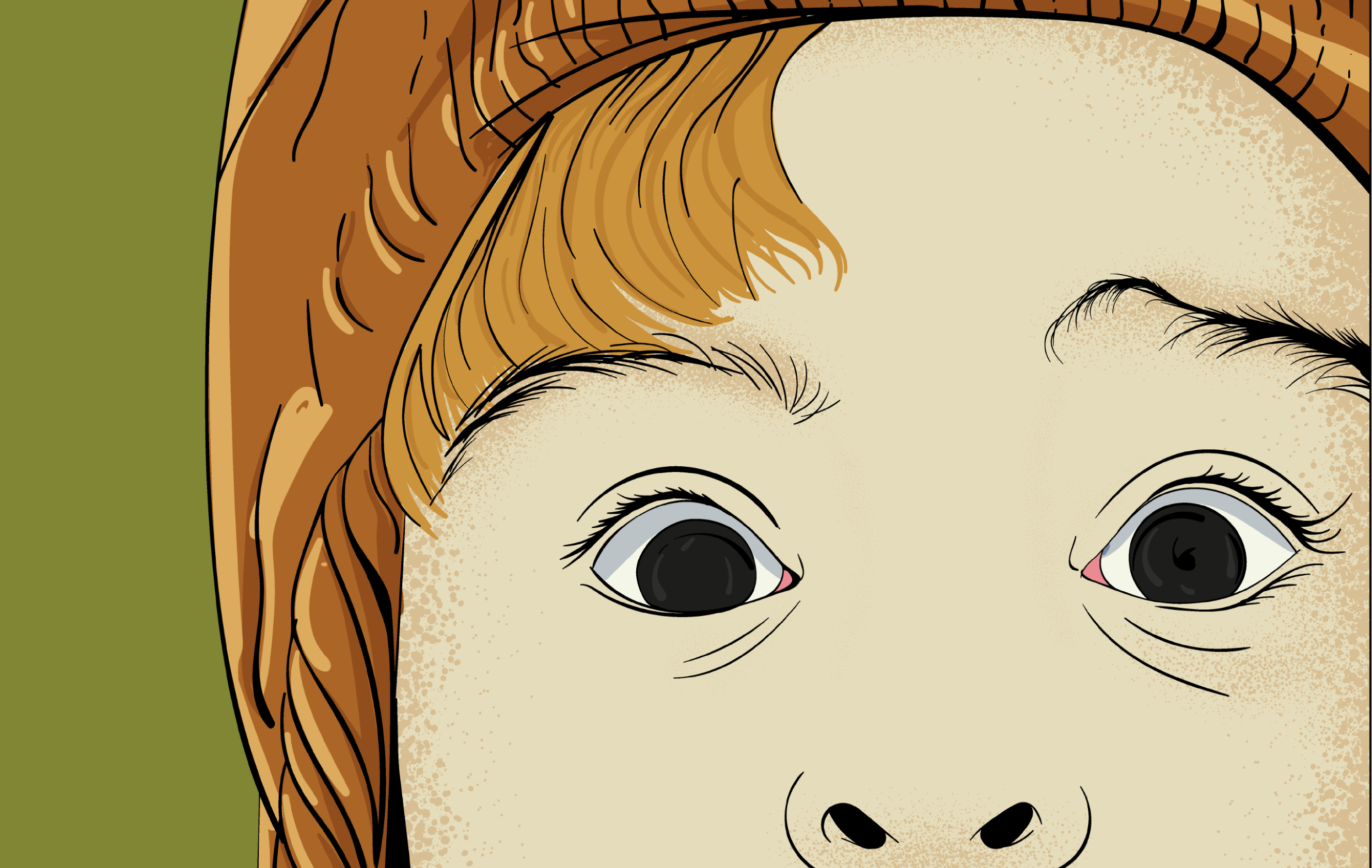 Close up of face of a curious child wearing a brown hat, eyes open wide