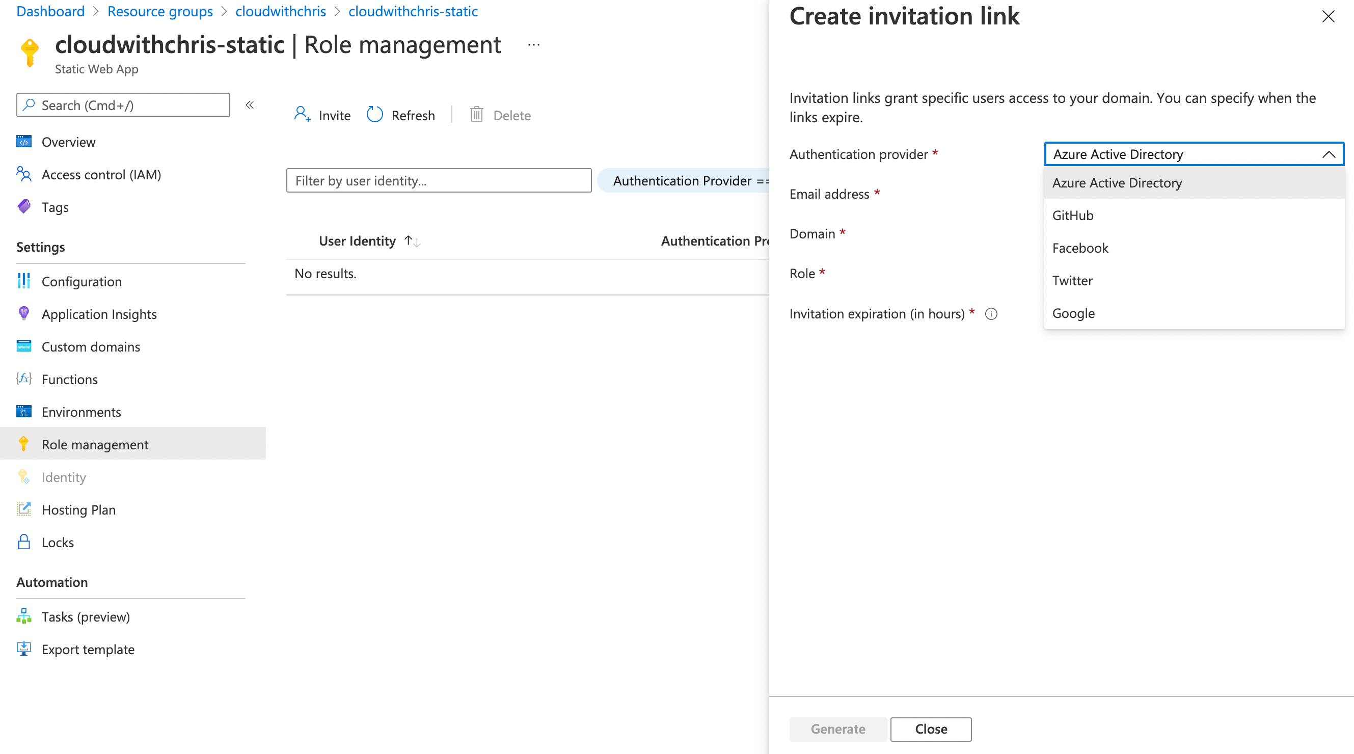 Screenshot of the role management/authentication/identity functionality in Static Web Apps