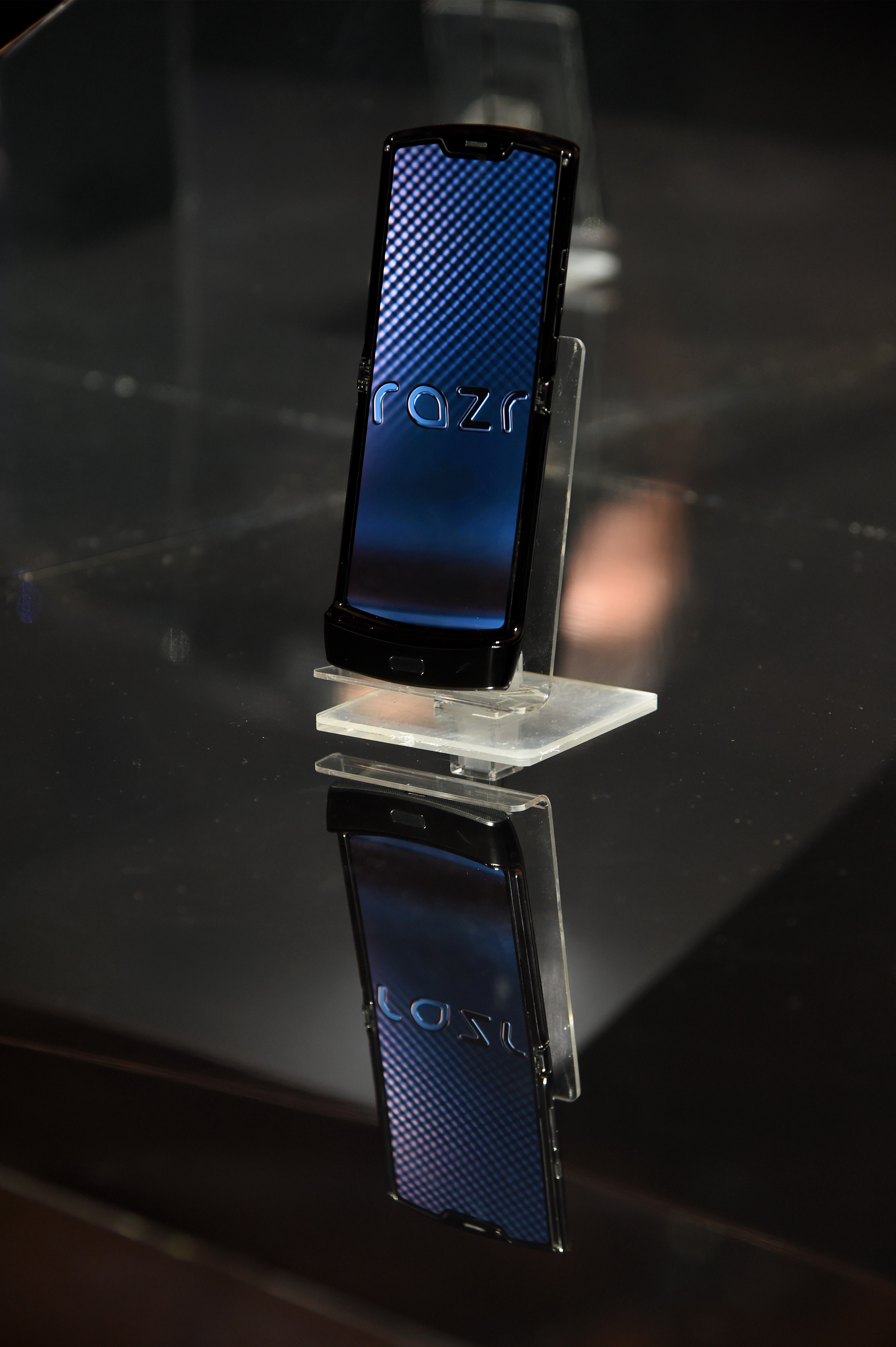 The new Razr phone is displayed during the unveiling of the Razr as a reinvented icon.