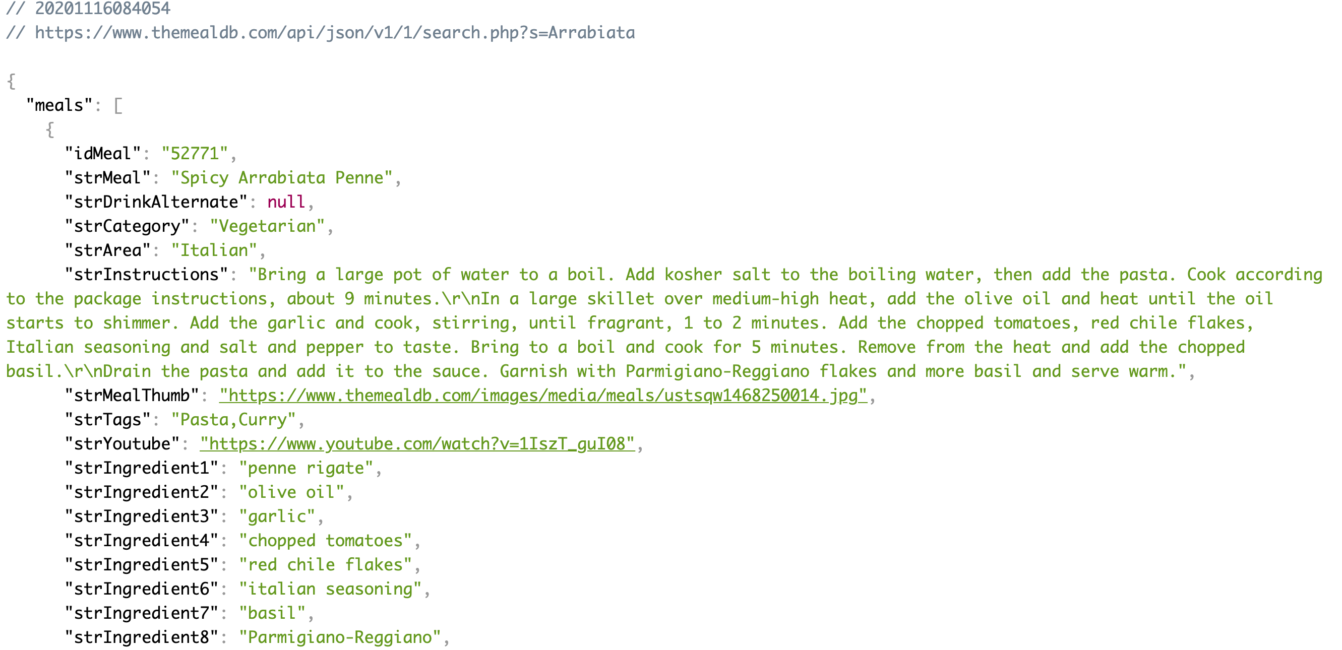 Here's an example of the dataset for a food API