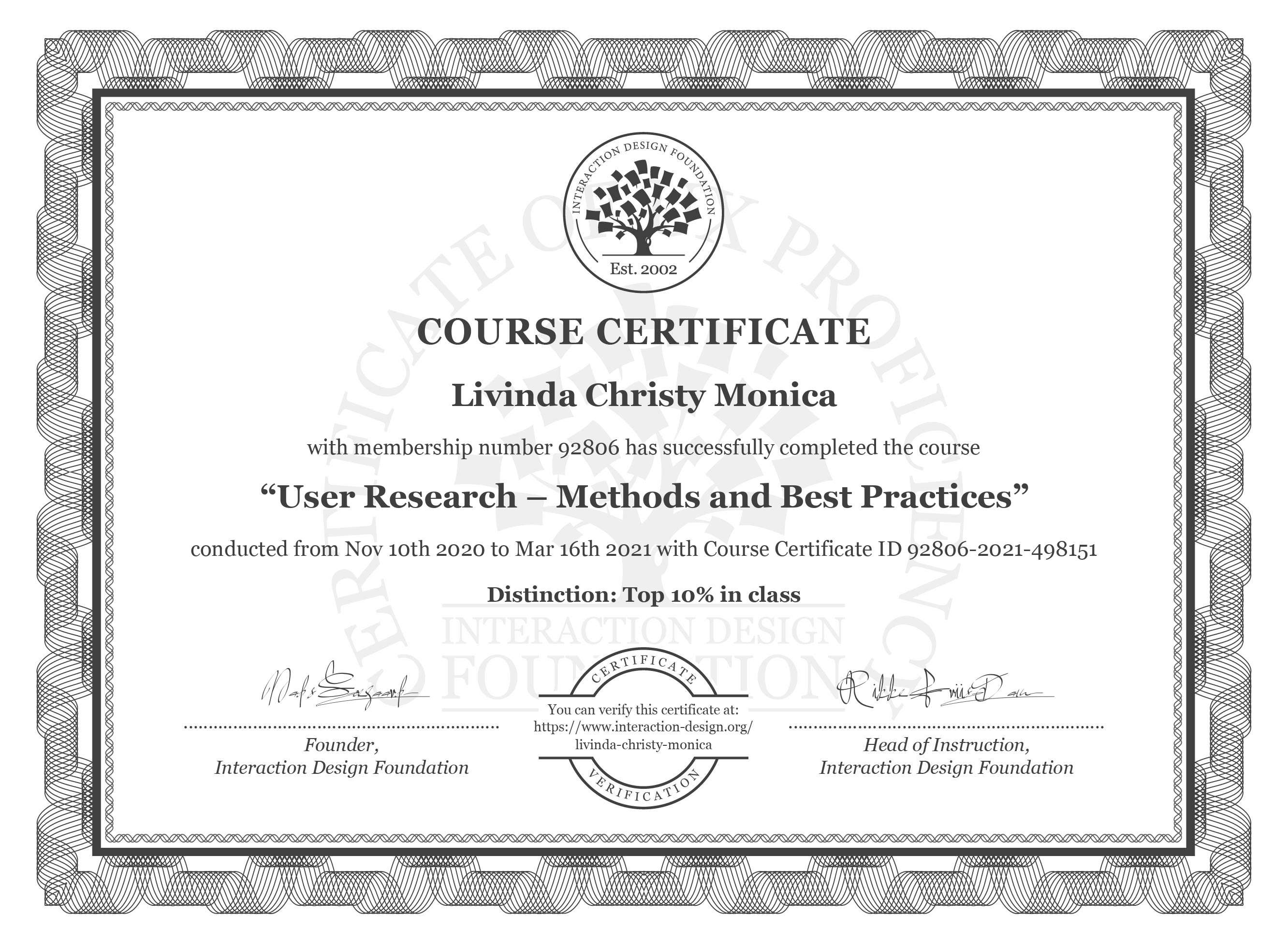 Livinda's course certificate of User Research—Methods and Best Practices