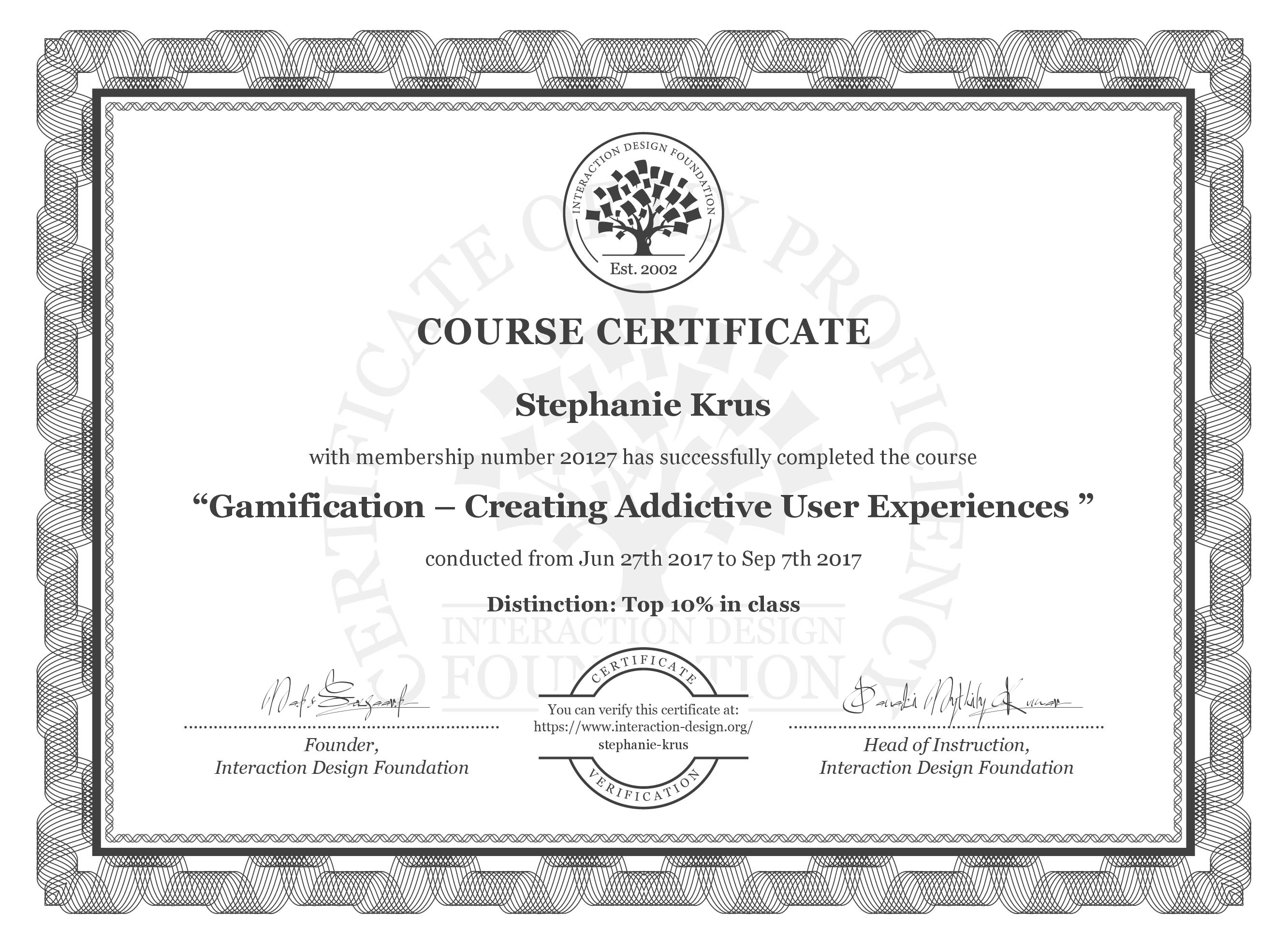 Certificate of the Gamification course