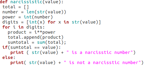 Algorithm Part 1: Checking for Narcissism in Numbers (Python)
