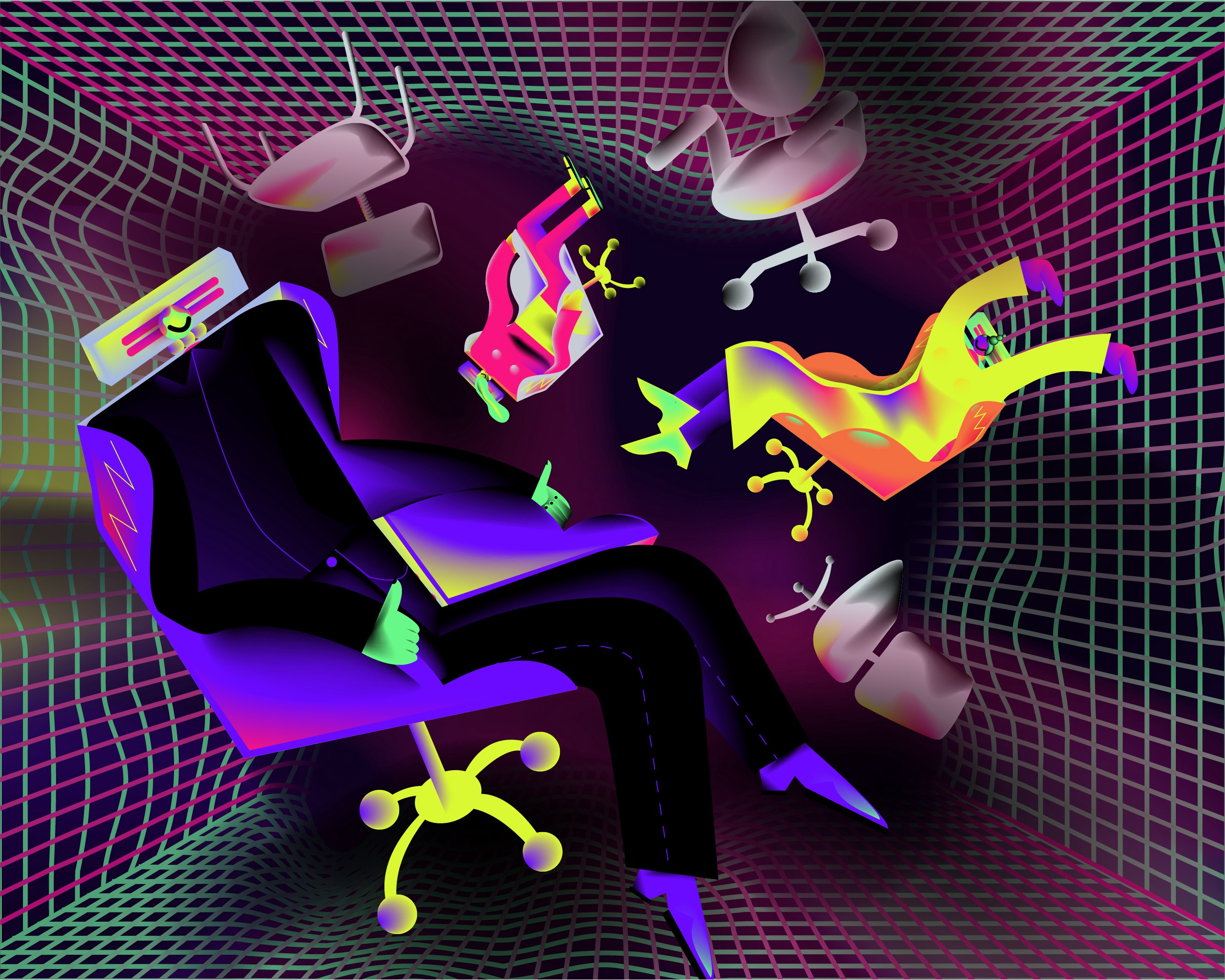 An illustration of a character sitting in a gaming chair, in front of a vortex of regular office chairs.