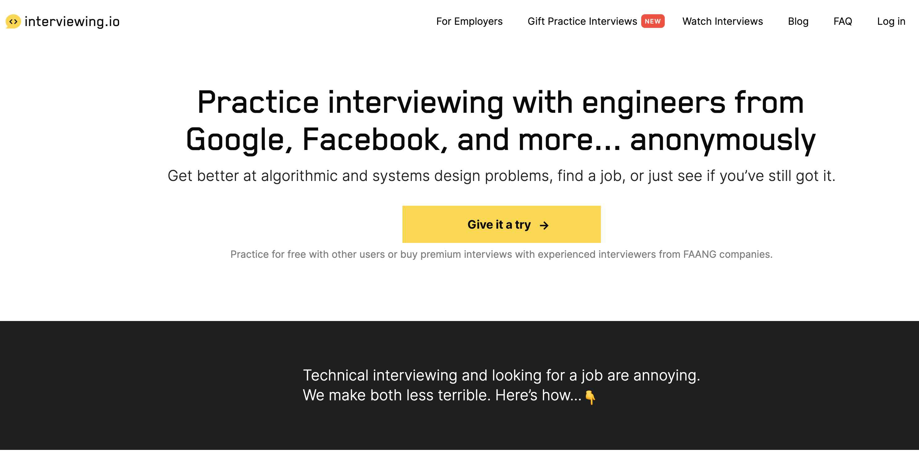 Interviewing.io homepage
