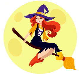 A witch with long red hair sits on a flying broom