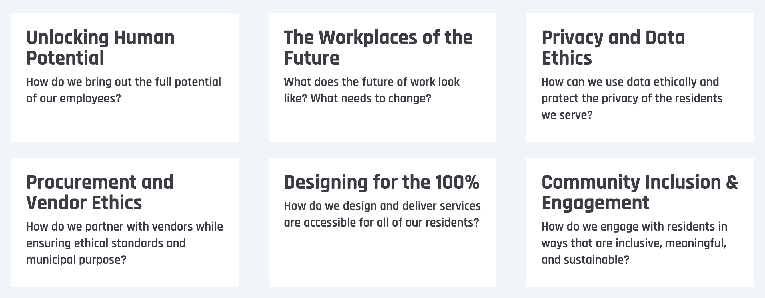 The list of categories for the 2019 Civic Futures Awards. These are also listed at civicfutures.io/awards