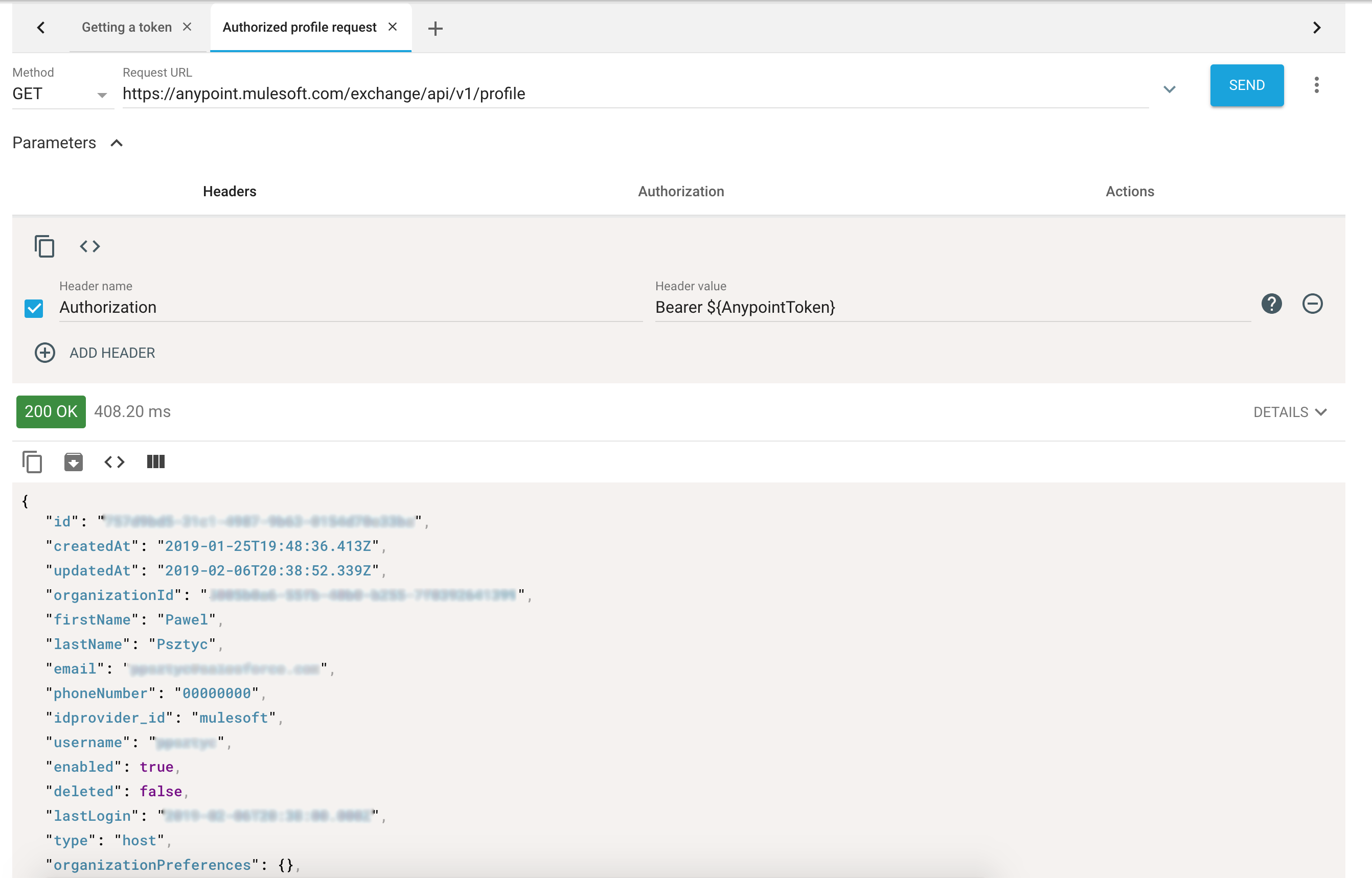 Request Actions In Advanced REST Client — Authenticating