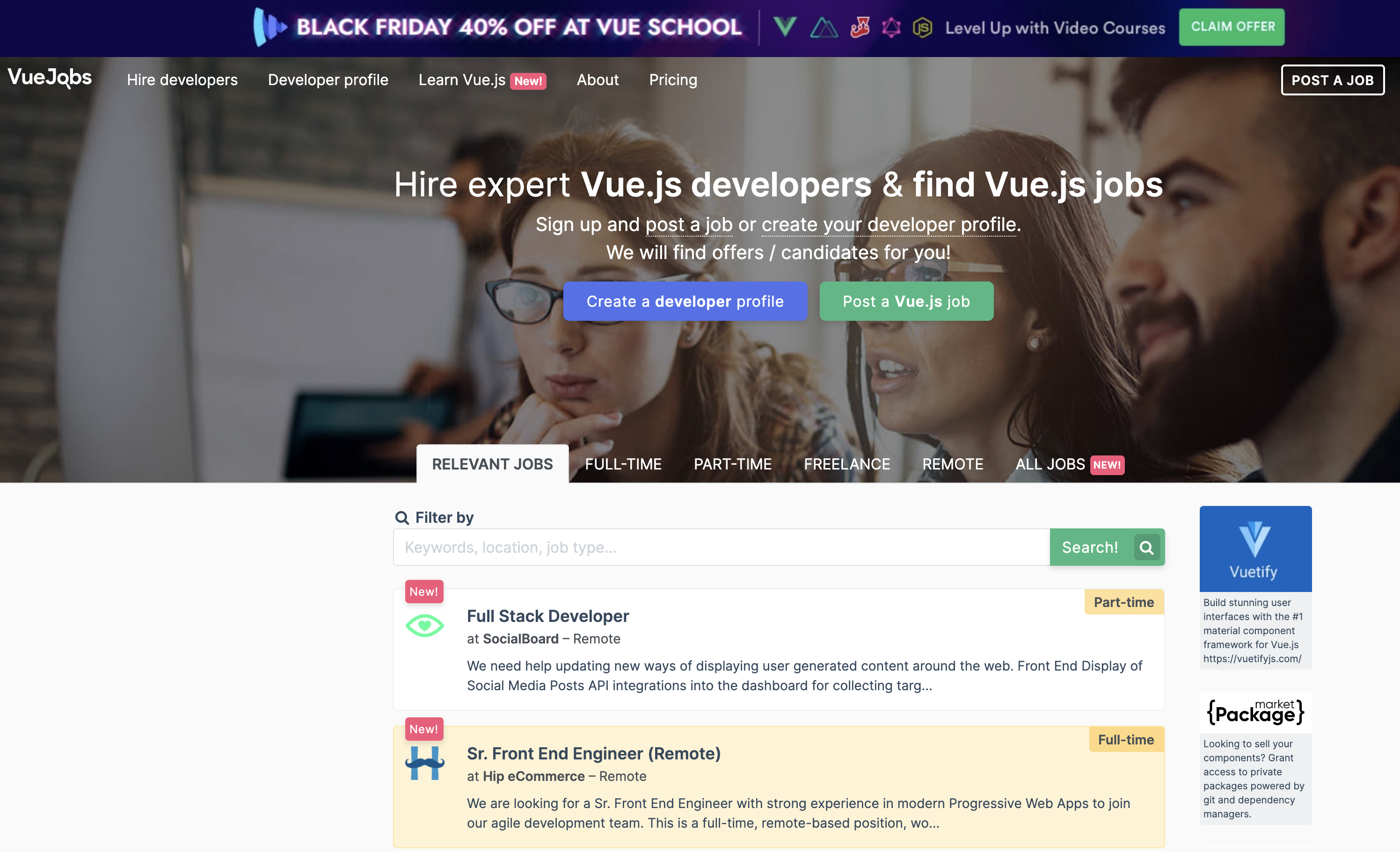 VueJobs homepage