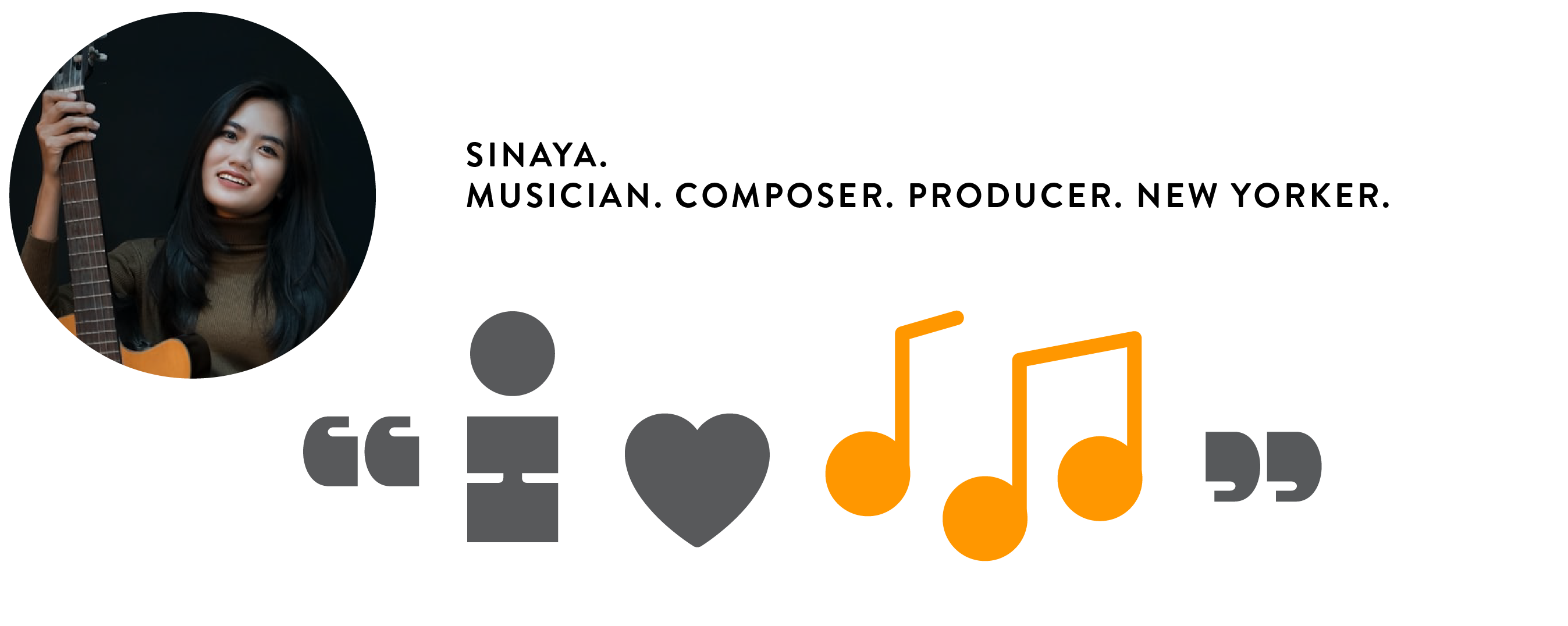 """A visual diagram of an i-statement set within a user persona who plays the guitar. The i-statement expresses that the persona is passionate about music, above anything else. It can be translated simply as """"i love music""""."""