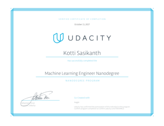 My Experience of Udacity's Machine Learning Engineer Nanodegree