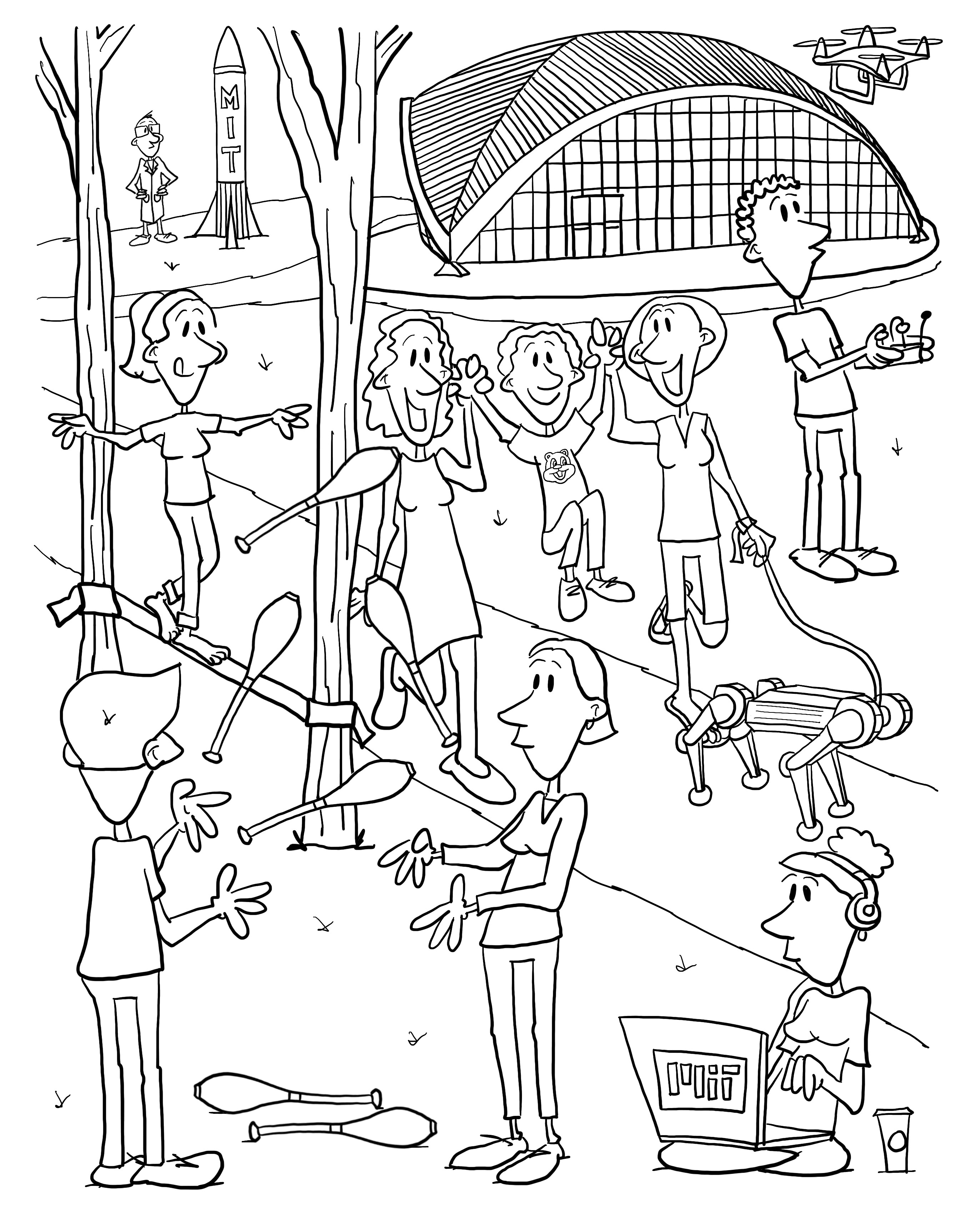 Coloring book page showing MIT students juggling, tightrope walking, drone flying.