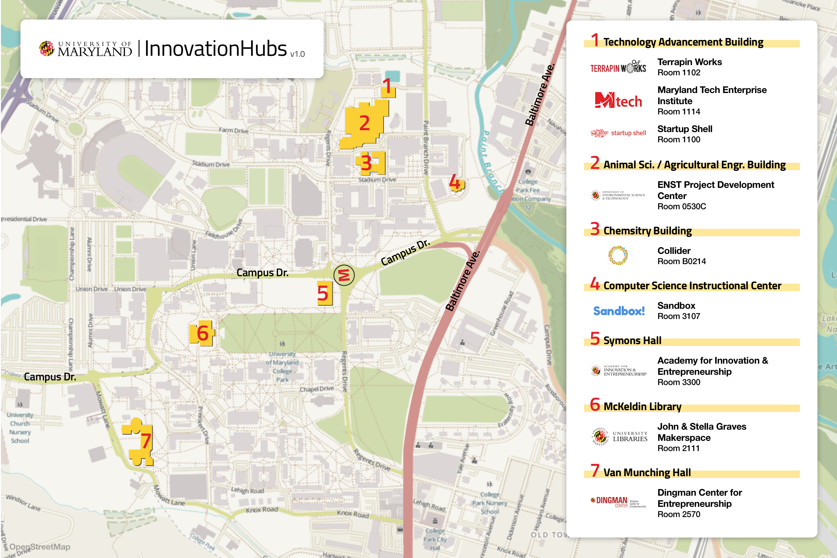 UMD's Spaces for Creative Thinkers - Startup S - Medium on middle east interactive map, uva interactive map, unc interactive map,