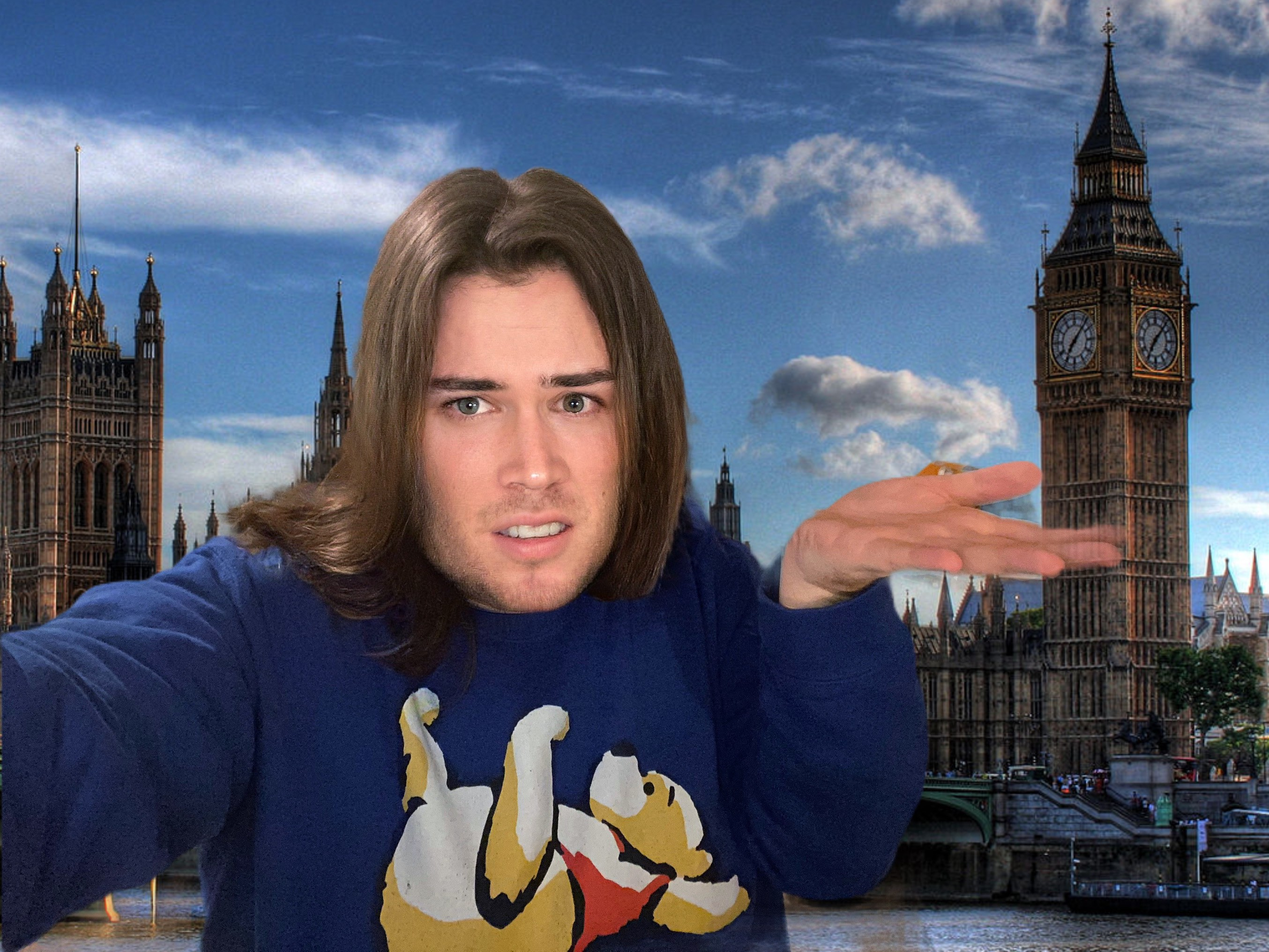 A photo of the author shrugging and looking confused in front of the Palace of Westminster.
