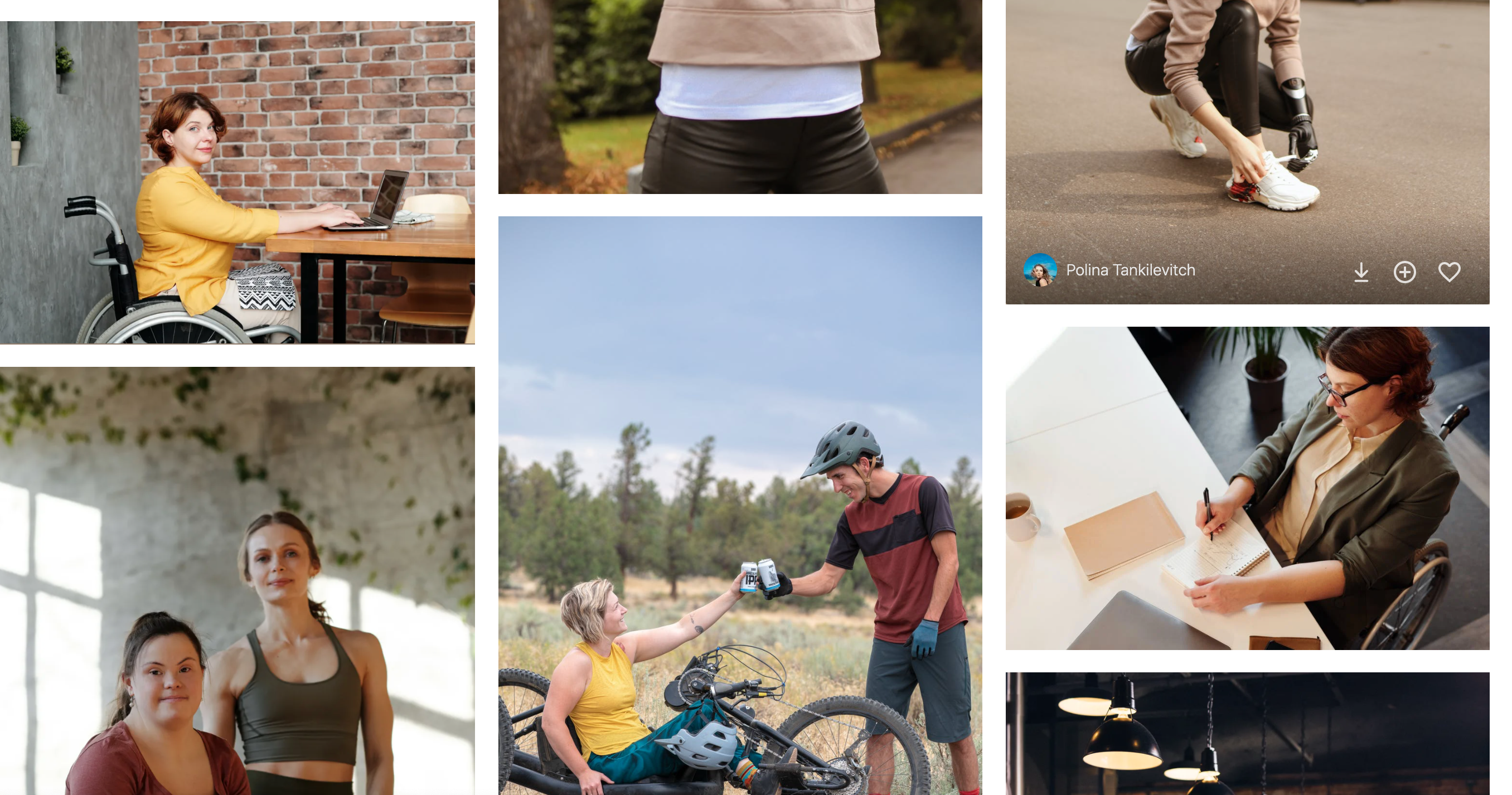 Example of the stock photography selection from nexels.com showing several people with disabilities in an active lifestyle