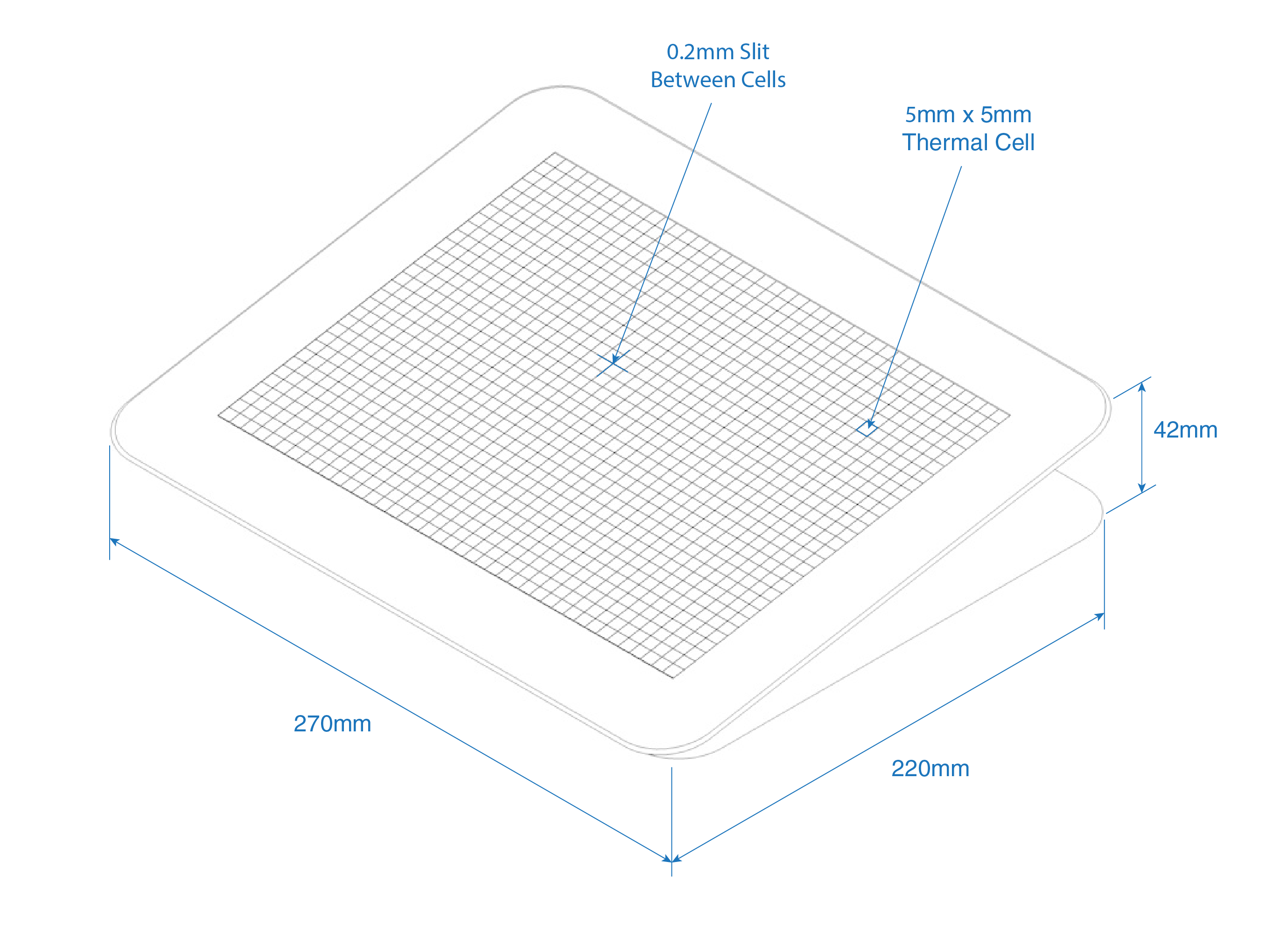 Isometric line drawing of the thermal display showing dimensions and callouts. 270mm in width 220mm in depth  42mm in height.