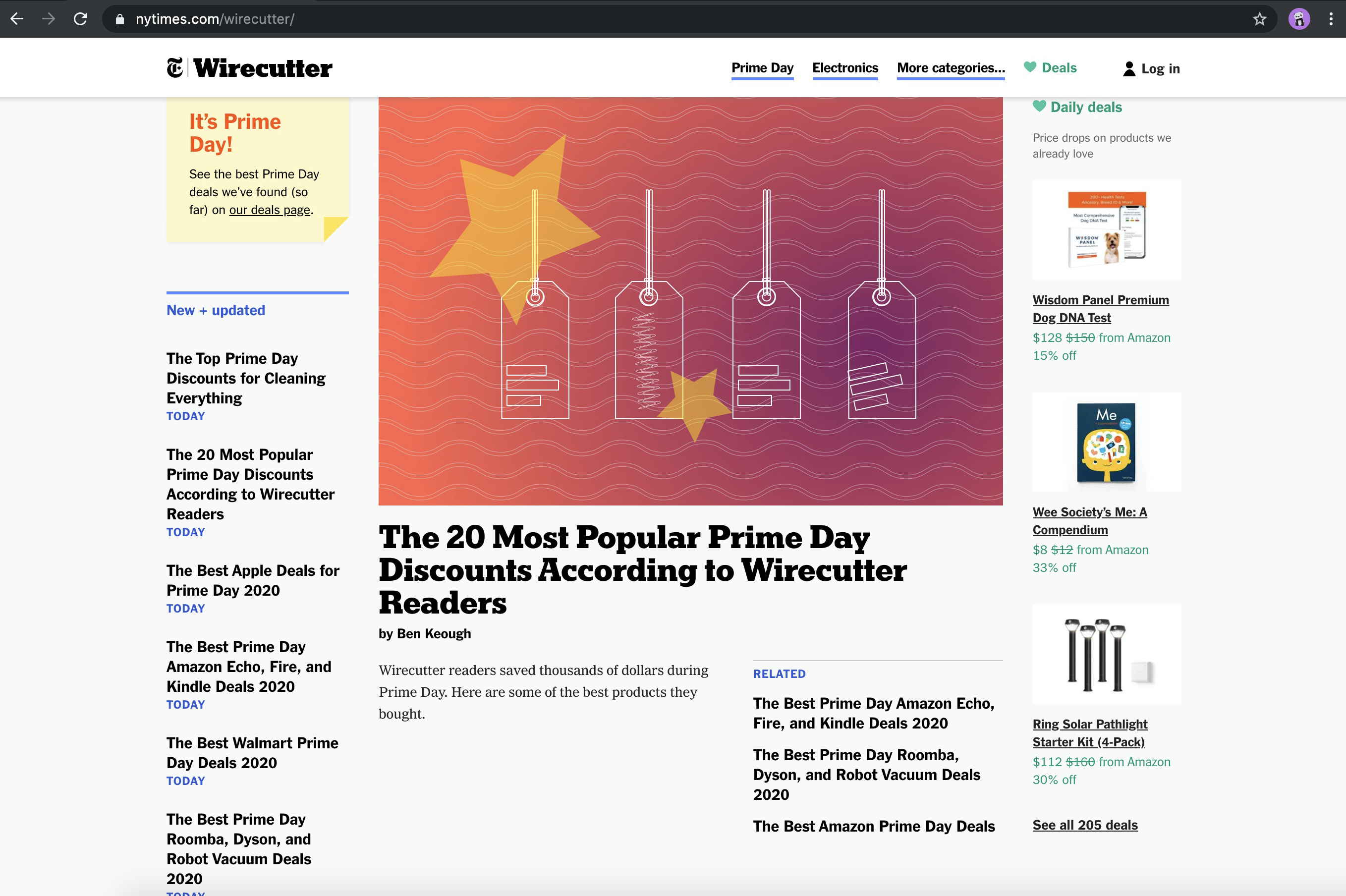 Screenshot of the Wirecutters homepage