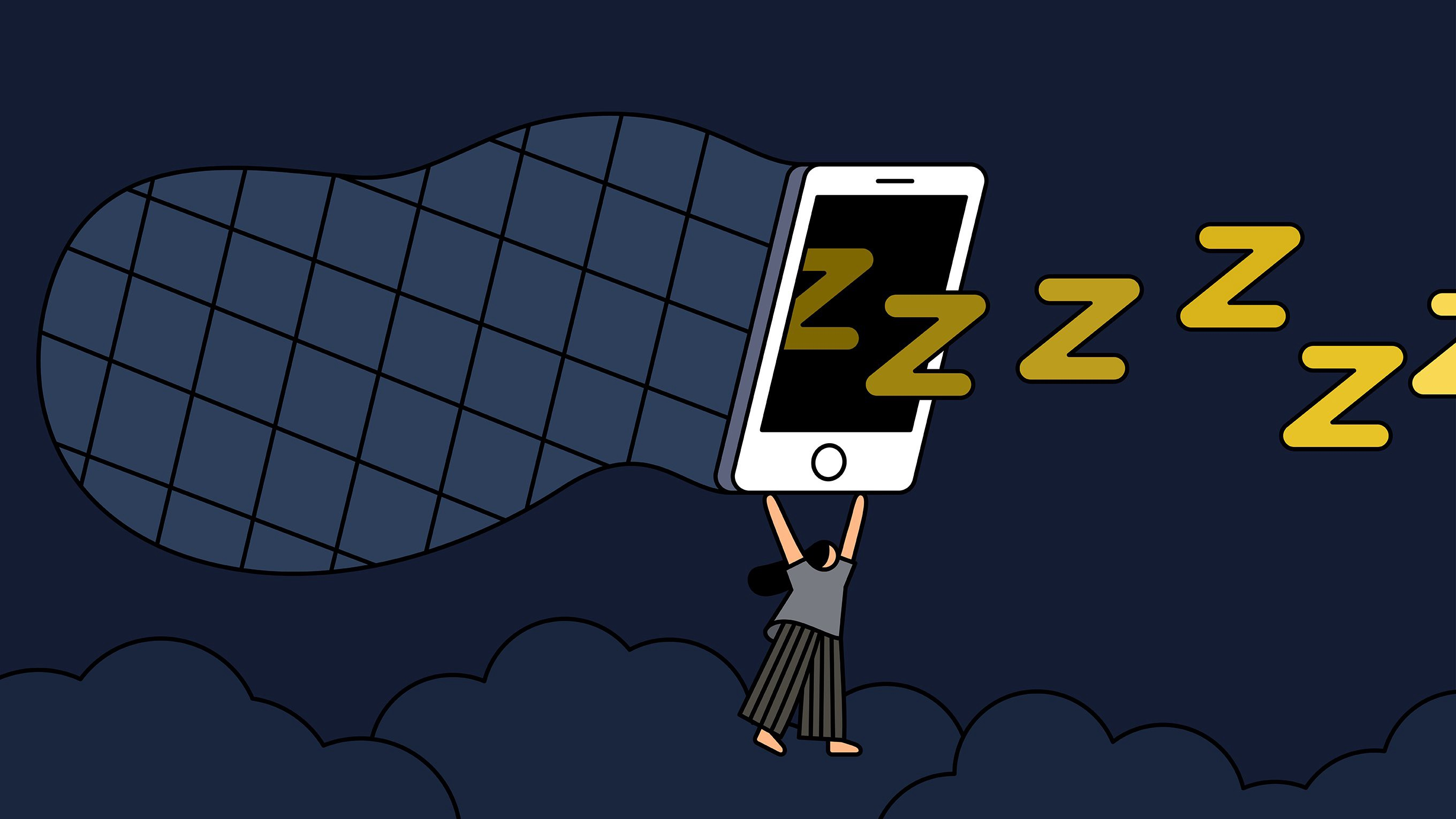 Illustration of a person wearing pajamas, holding a huge phone attached to a net, trying to capture floating yellow Z's.